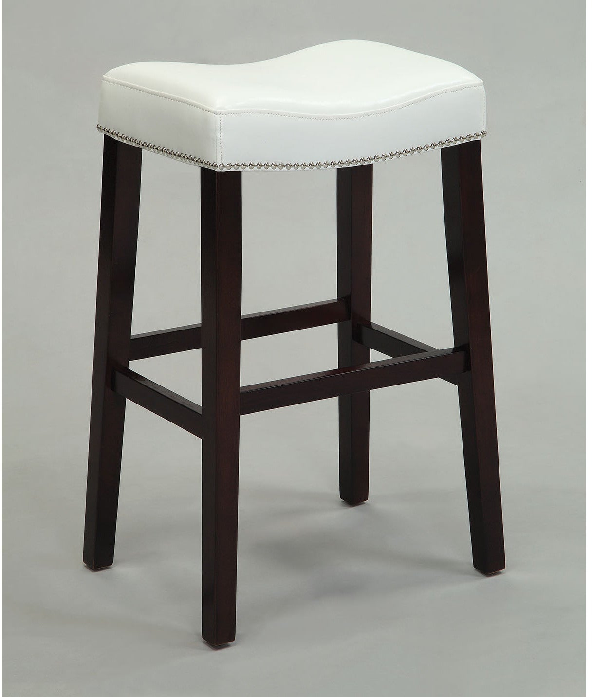 Details About Counter Stool White Saddle Style Seat Padded Faux Leather Espresso Wood 2 Pack