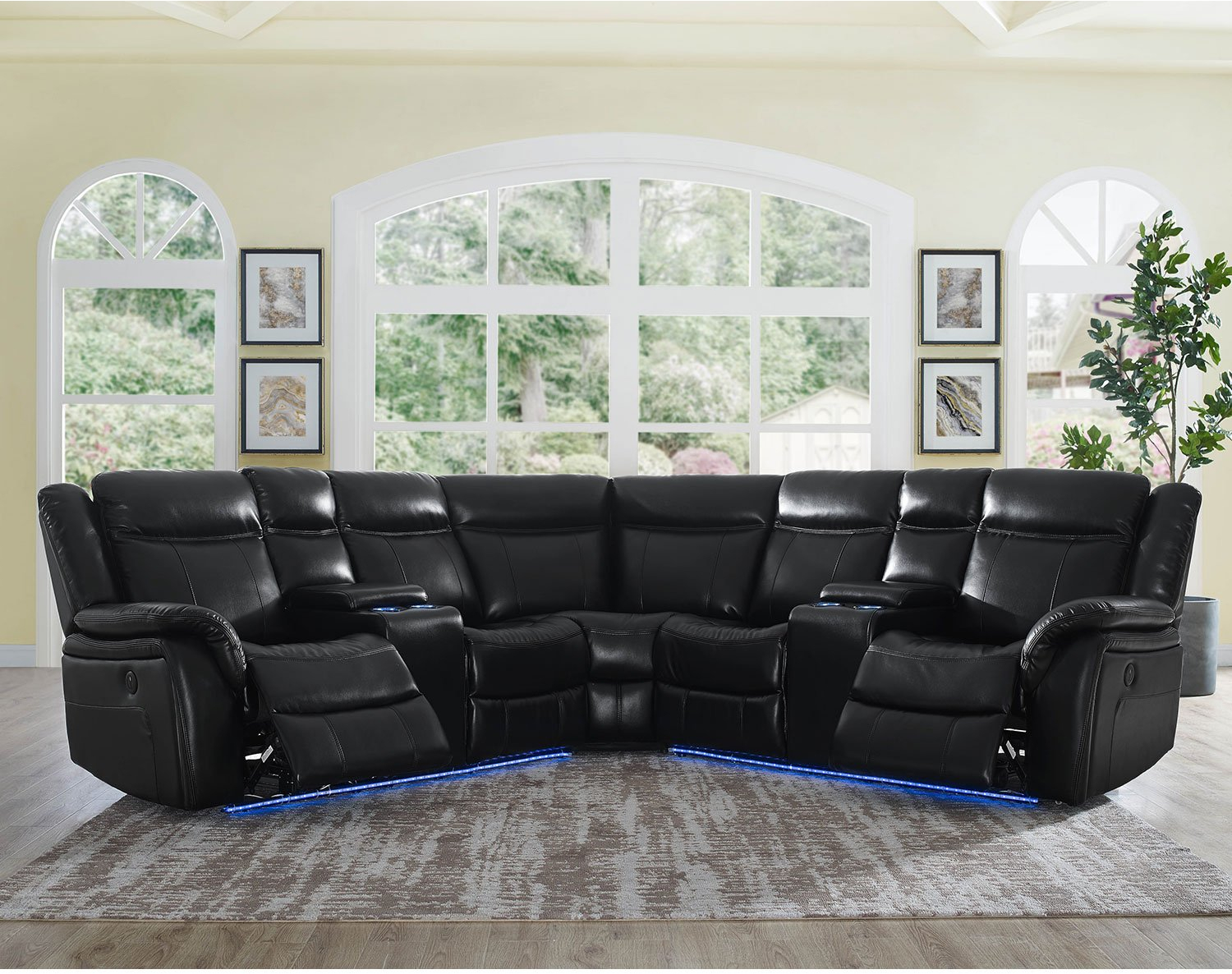 Details about Black Faux Leather Power Reclining Sectional Sofa Lights Cup  Holder USB Charging