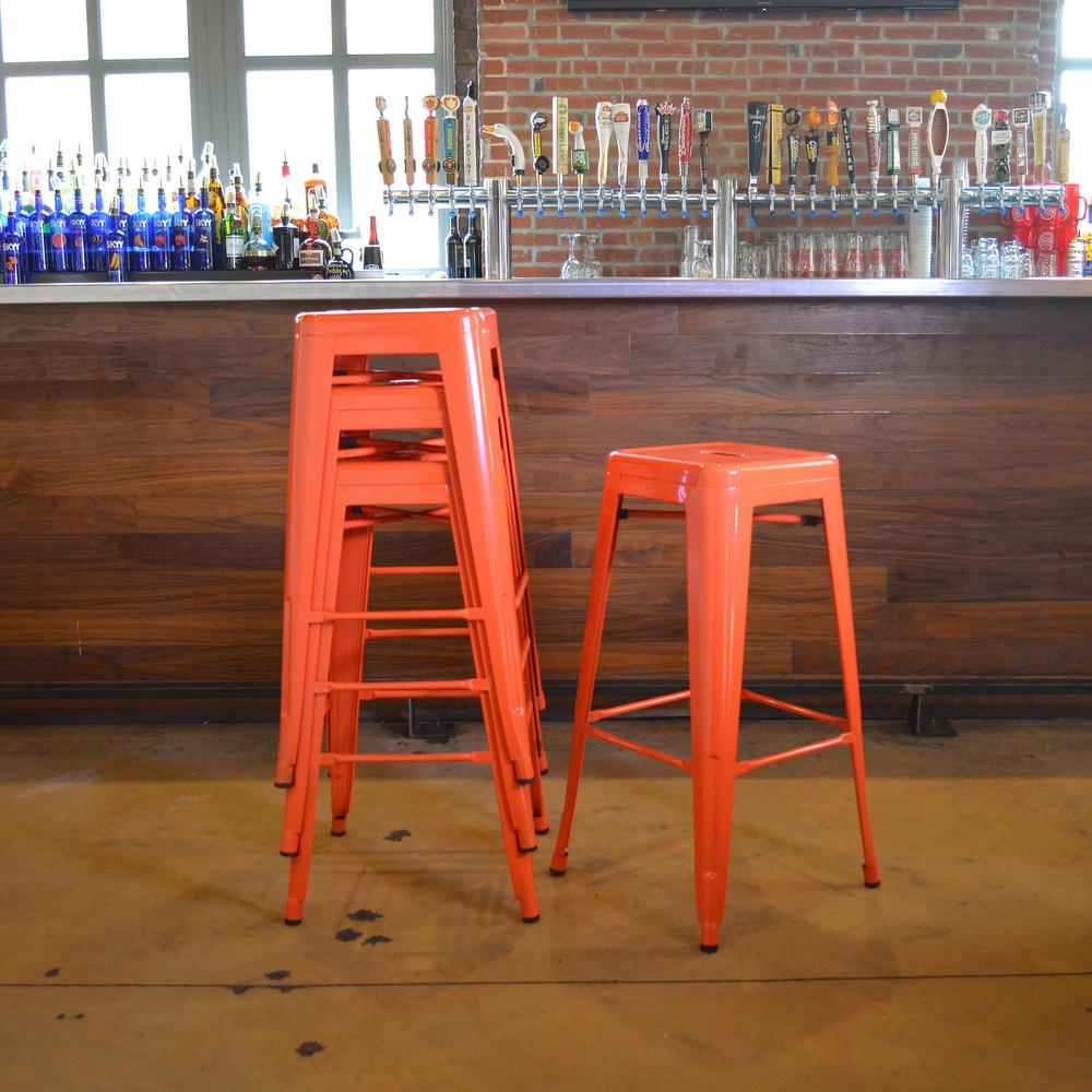 Stupendous Details About 30 In Bar Stool Metal Backless Desgn Stackable W Foot Rest Orange Set Of 4 Creativecarmelina Interior Chair Design Creativecarmelinacom