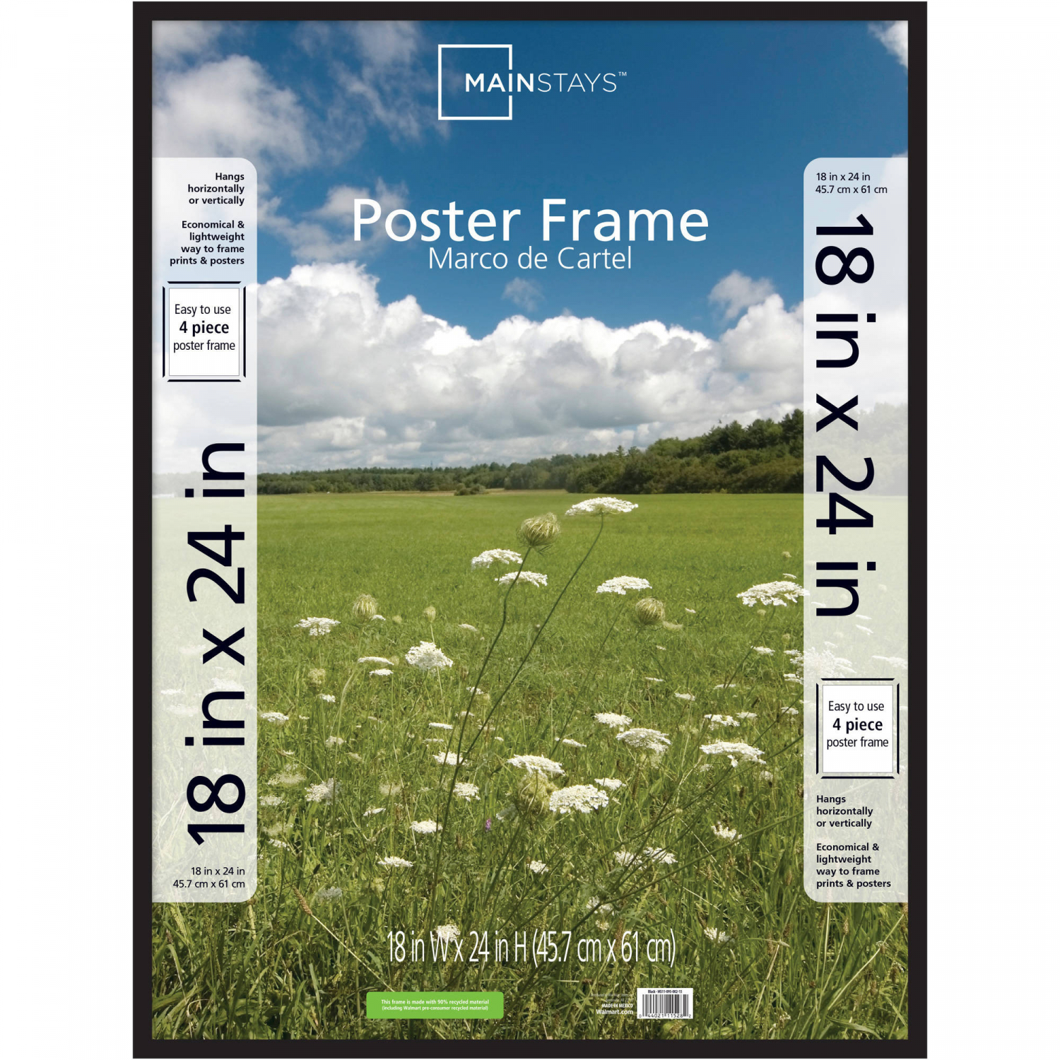 Mainstays Picture Frame and Basic Poster 20x30 Set of 2 Home Hanging Decor Black