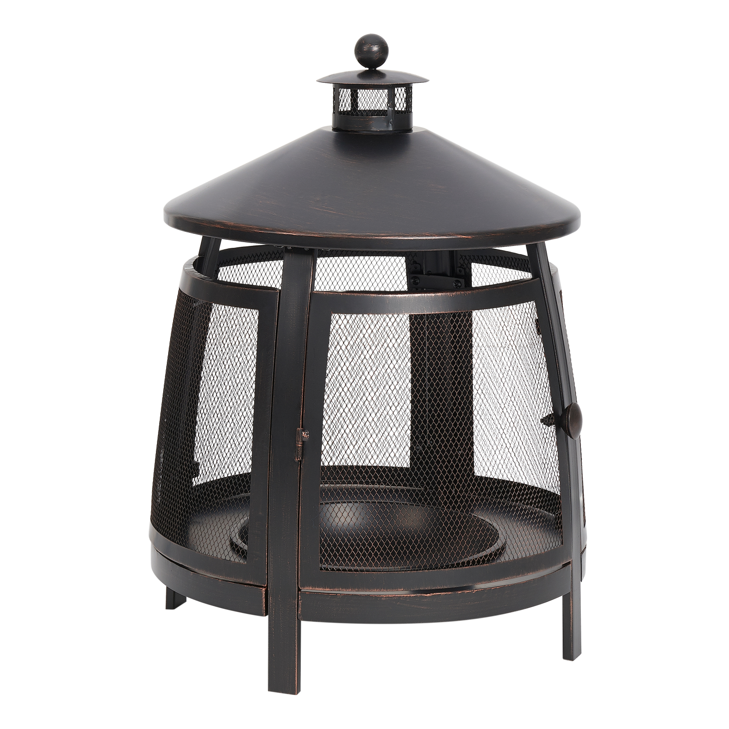 Chiminea 22-Inch Round Steel Wood Burning Fire Pit Outdoor ...