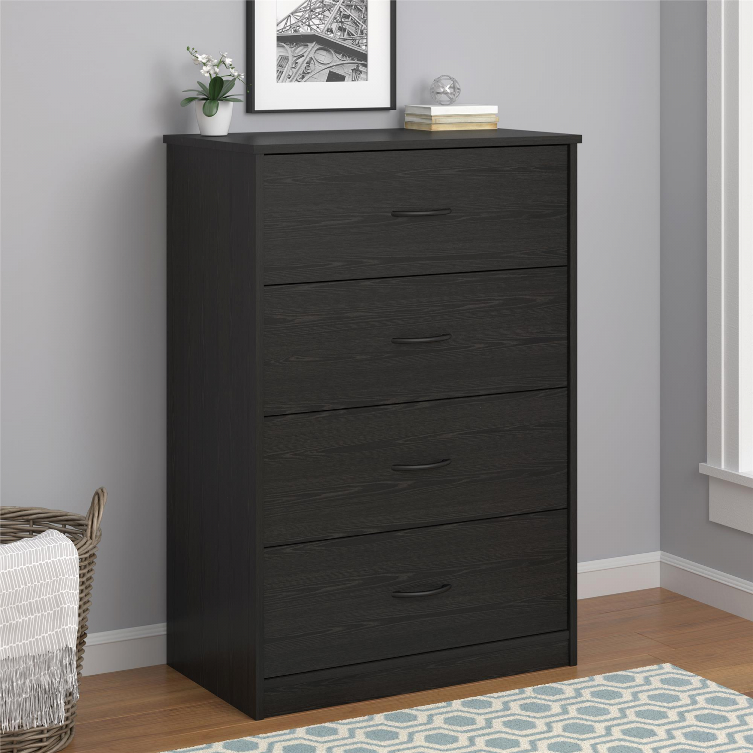 Details about 40 Tall 4-Drawer Modern Dresser Chest Bedroom Storage Wood  Furniture Black New