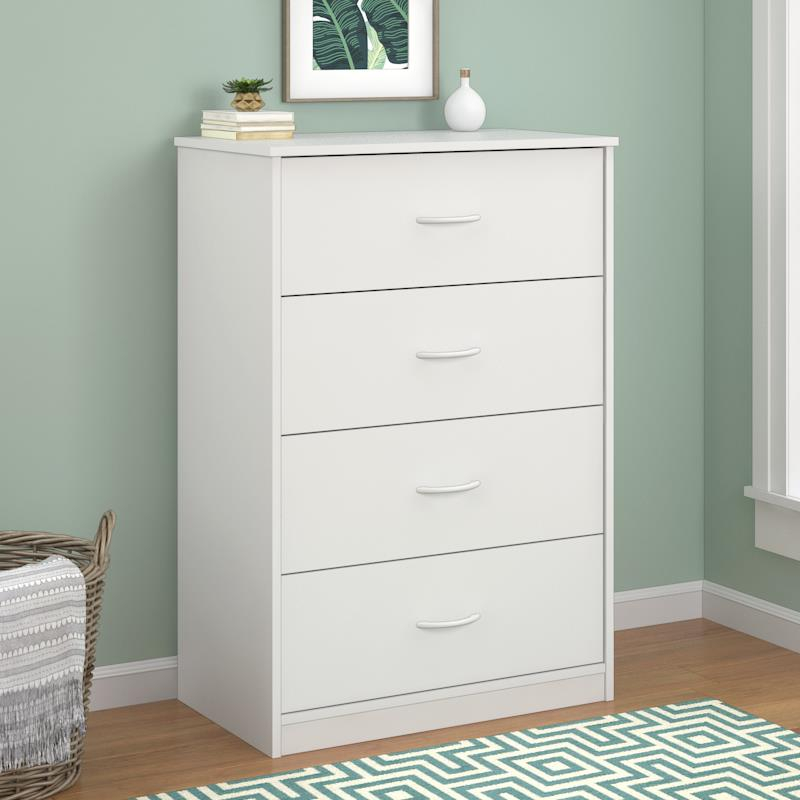 Details about 4 Drawer Chest Dresser Bedroom Storage Cabinet Wood Furniture  Clothes WHITE