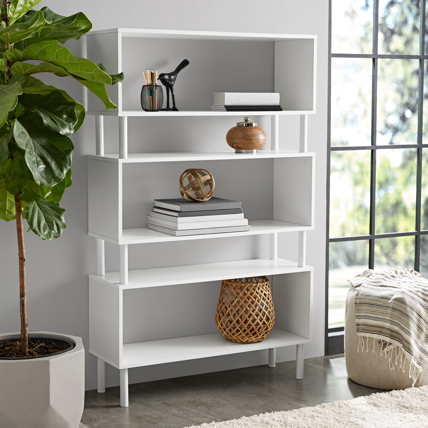 Tall Bookcase Cubby Large Open Bookshelf Modern Cube 3 ...