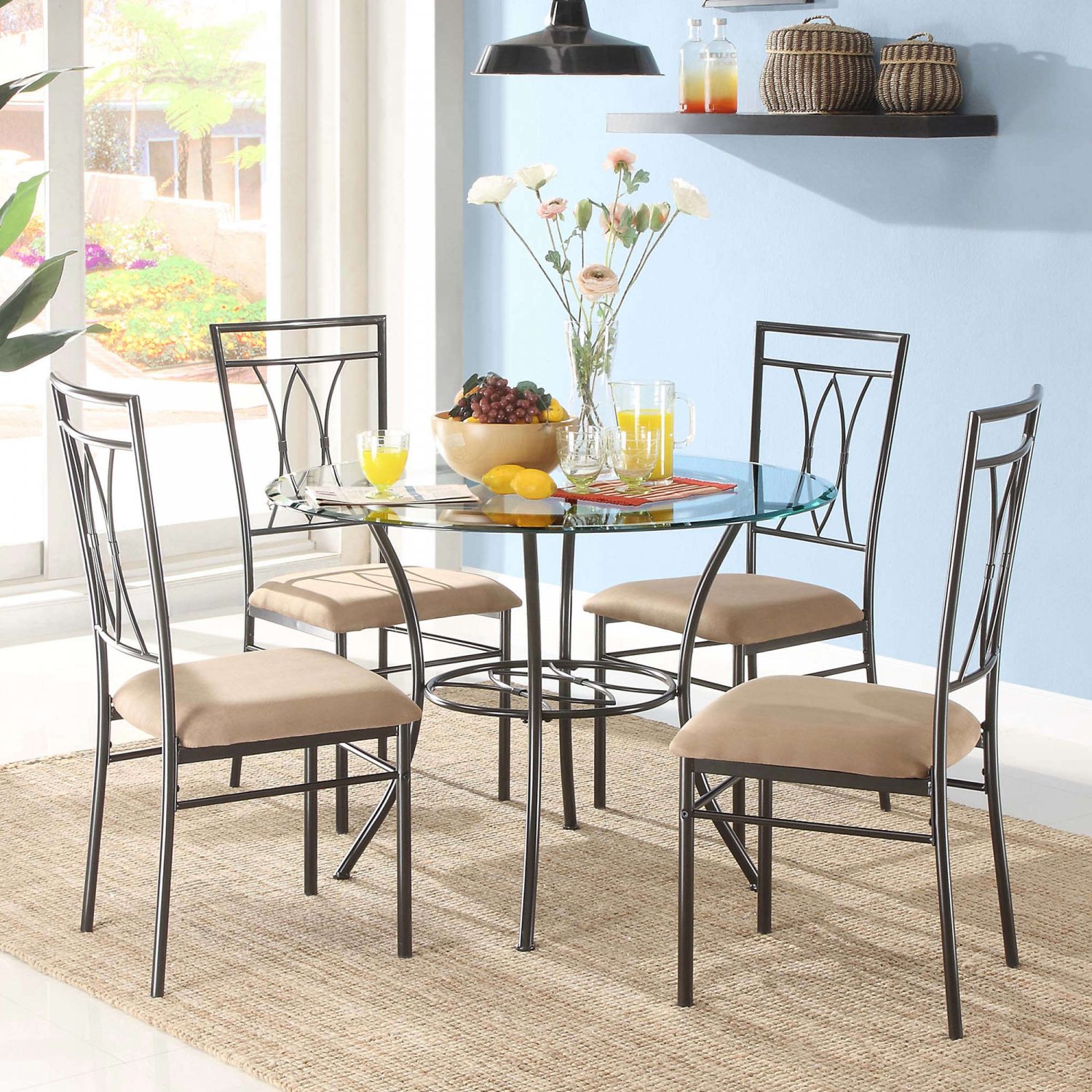 Gl And Metal Dining Set 5 Piece 42 Inch Round Tabletop Elegant Design New