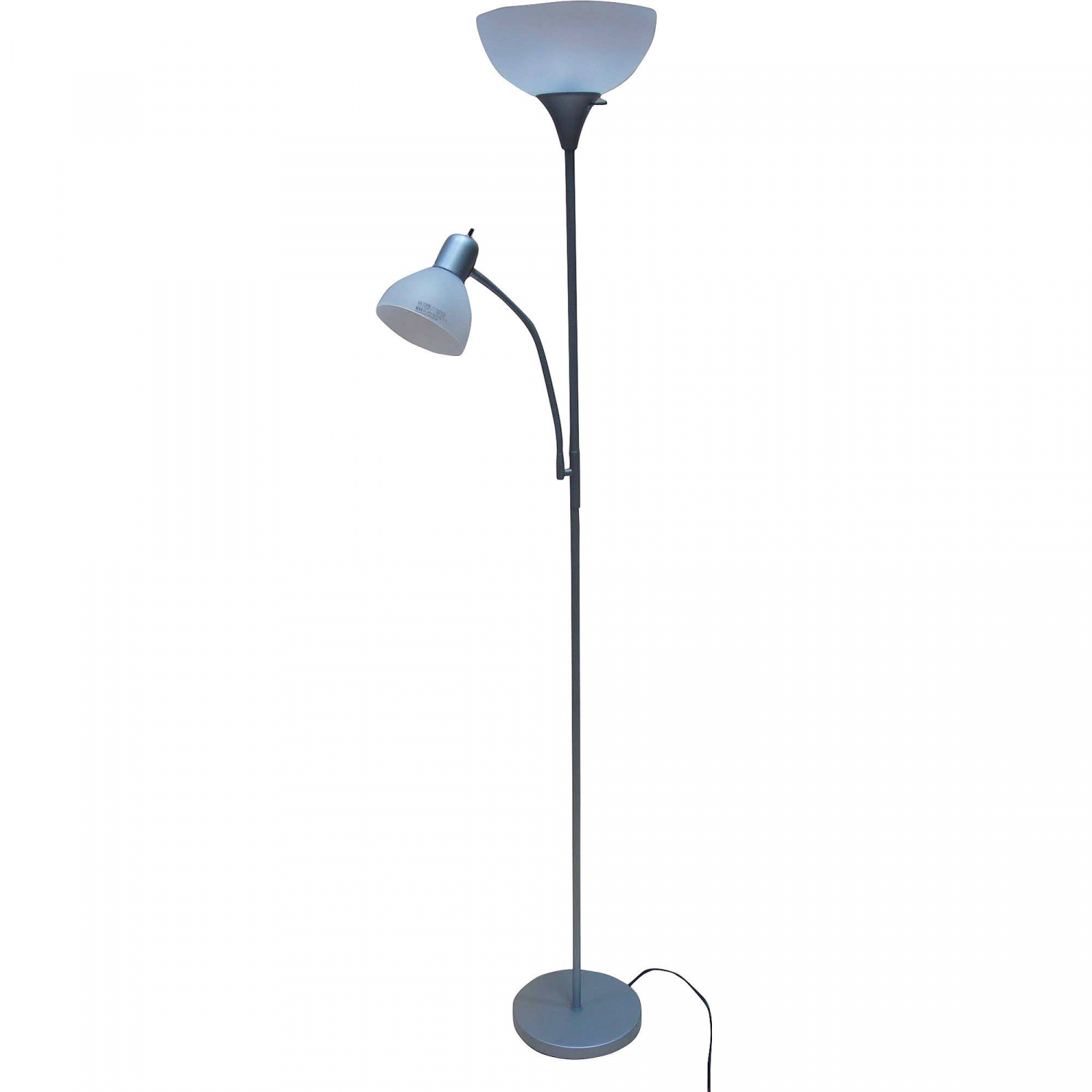 Silver Metal Floor Lamp With Reading Light For Living Room Uplight Stand 72 New Ebay
