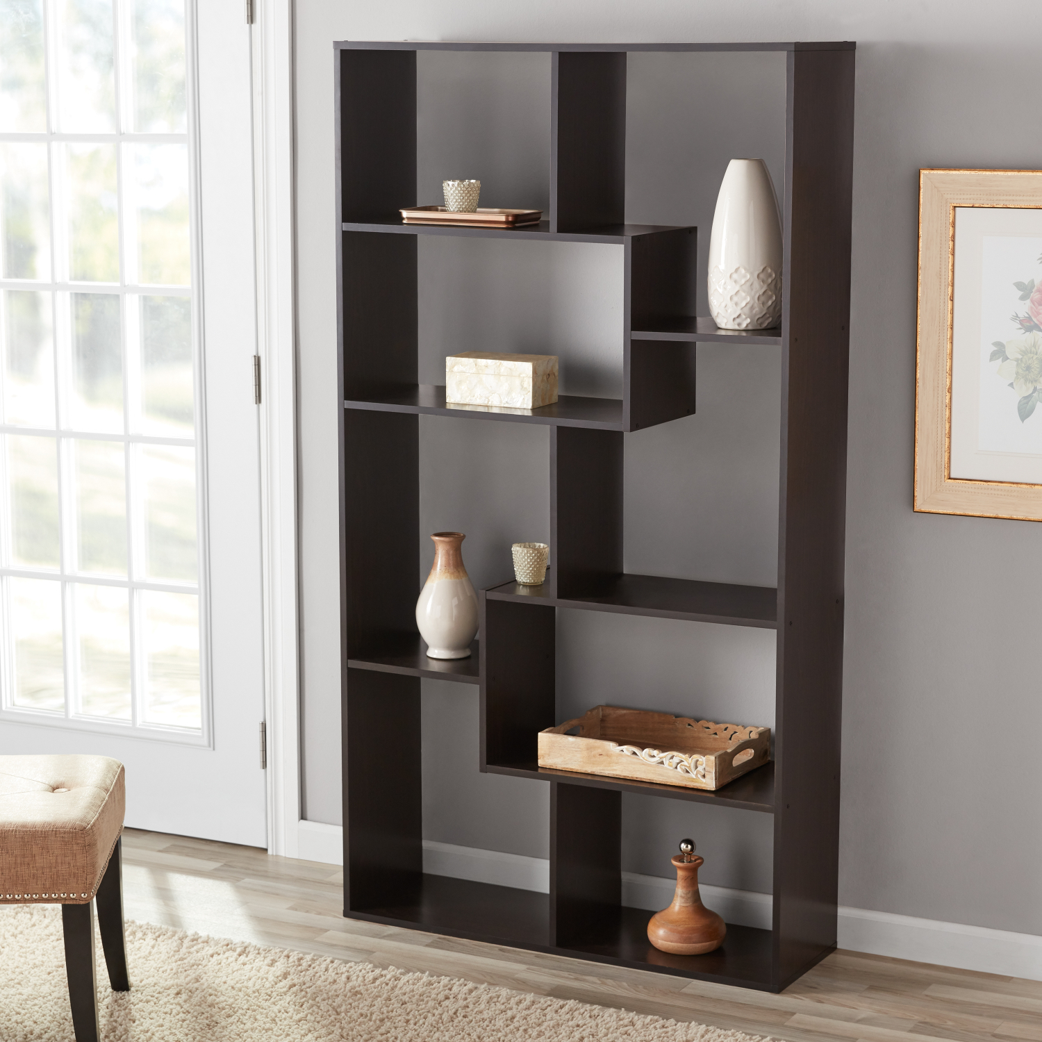 Details About Tall Bookcase Cubby Large Open Bookshelf Modern Cube 8 Shelf Display Brown White