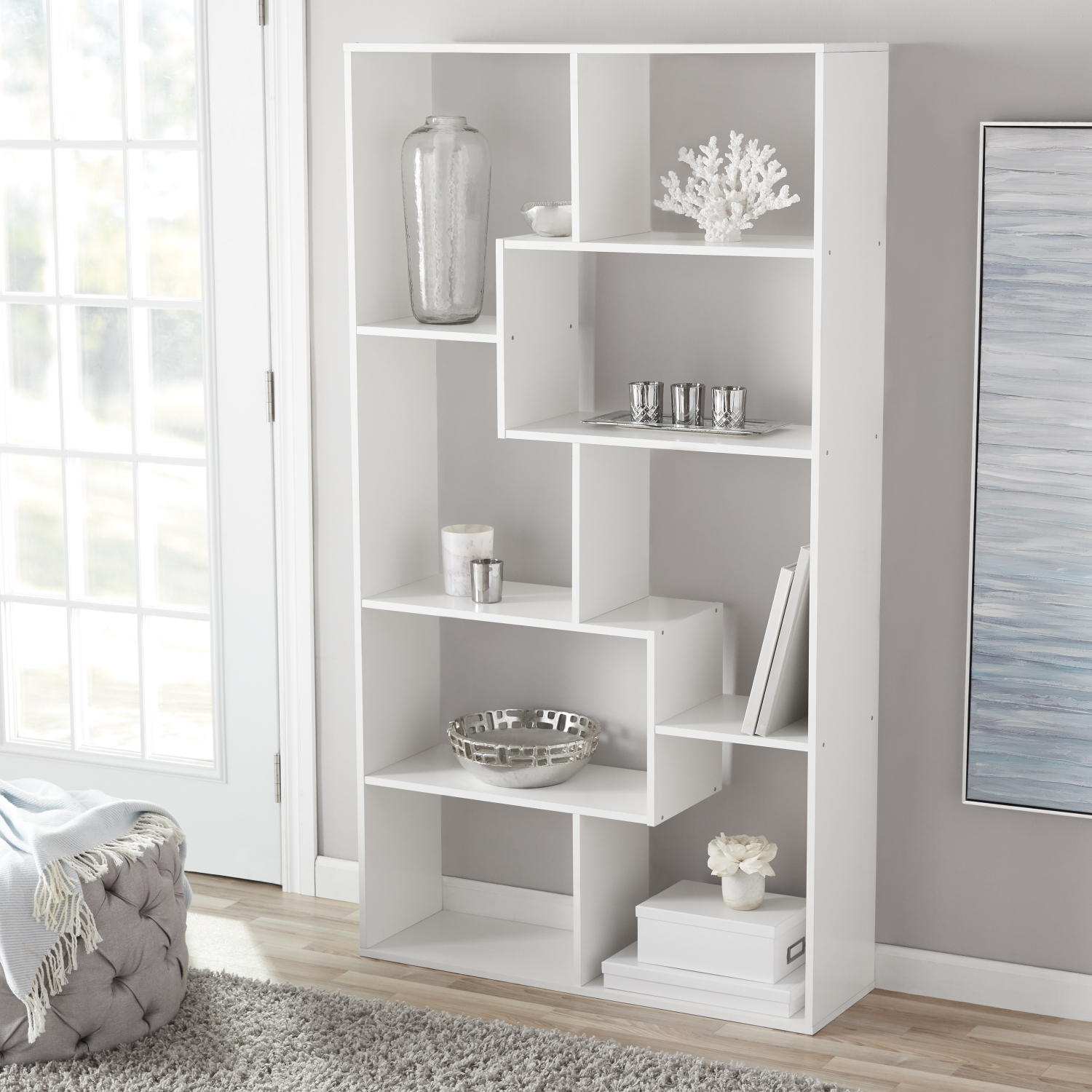 Details About Tall Bookcase Cubby Large Open Bookshelf Modern Cube 8 Shelf Display Decor White