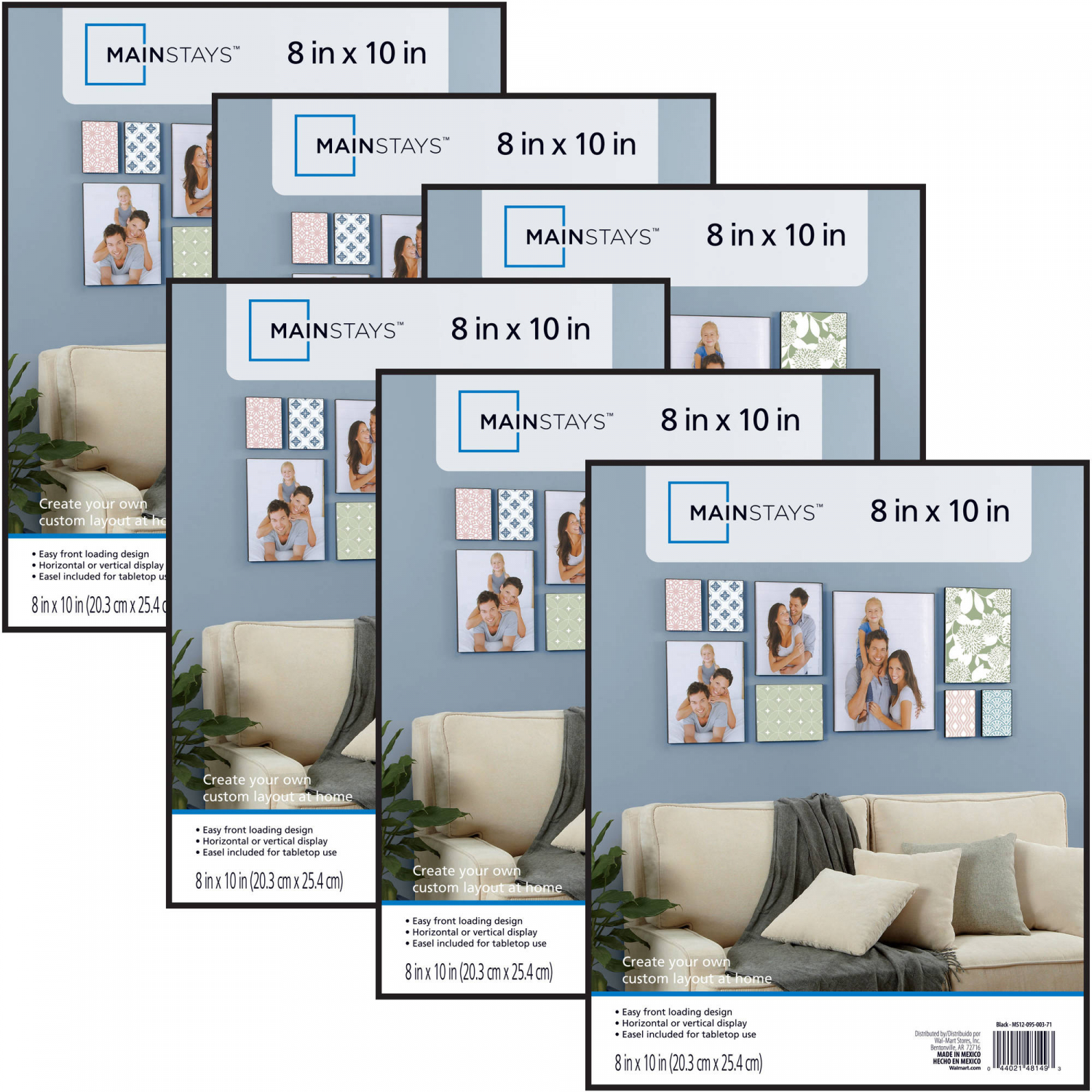 Mainstays 8x10 Format Picture Frame, Set of 6 Poster Art Pai