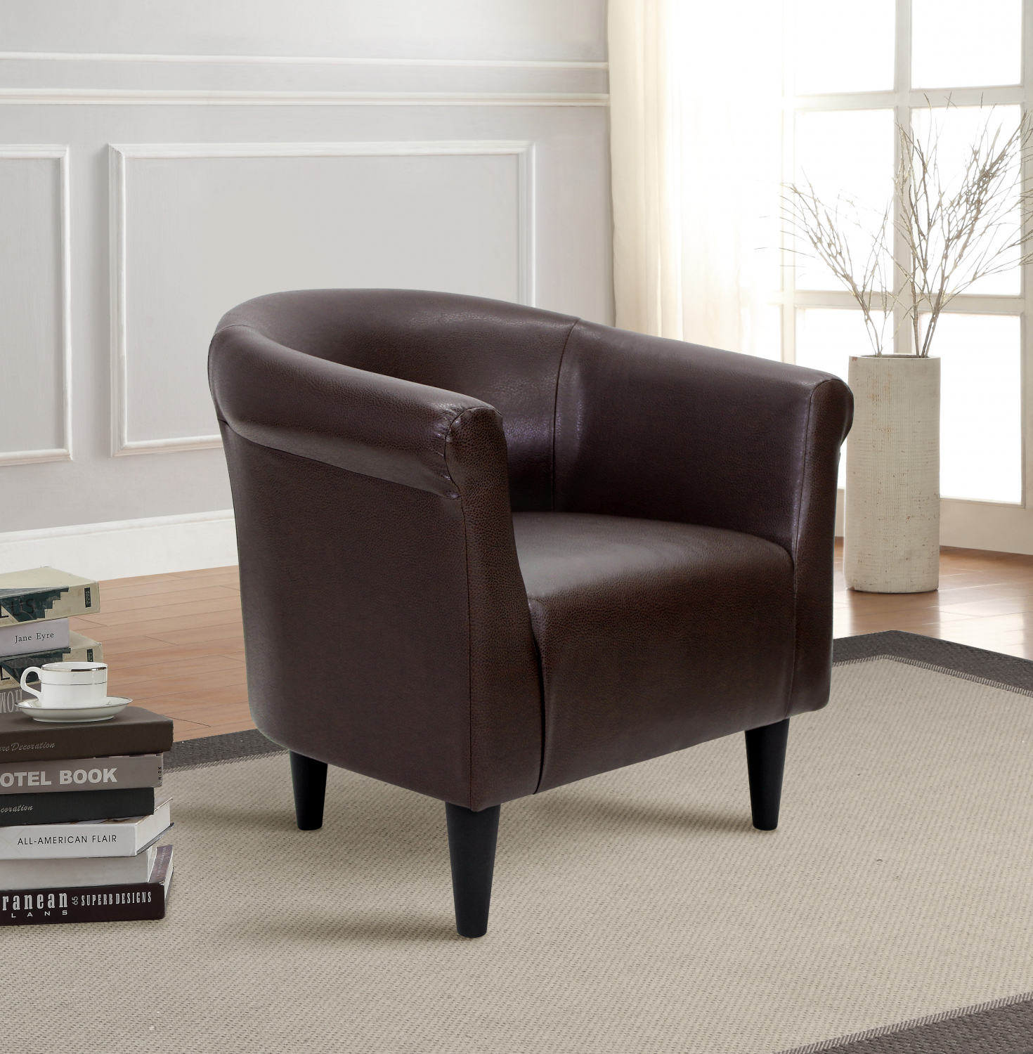 Details About Faux Leather Bucket Contemporary Accent Chair Living Room Furnitures Brown New