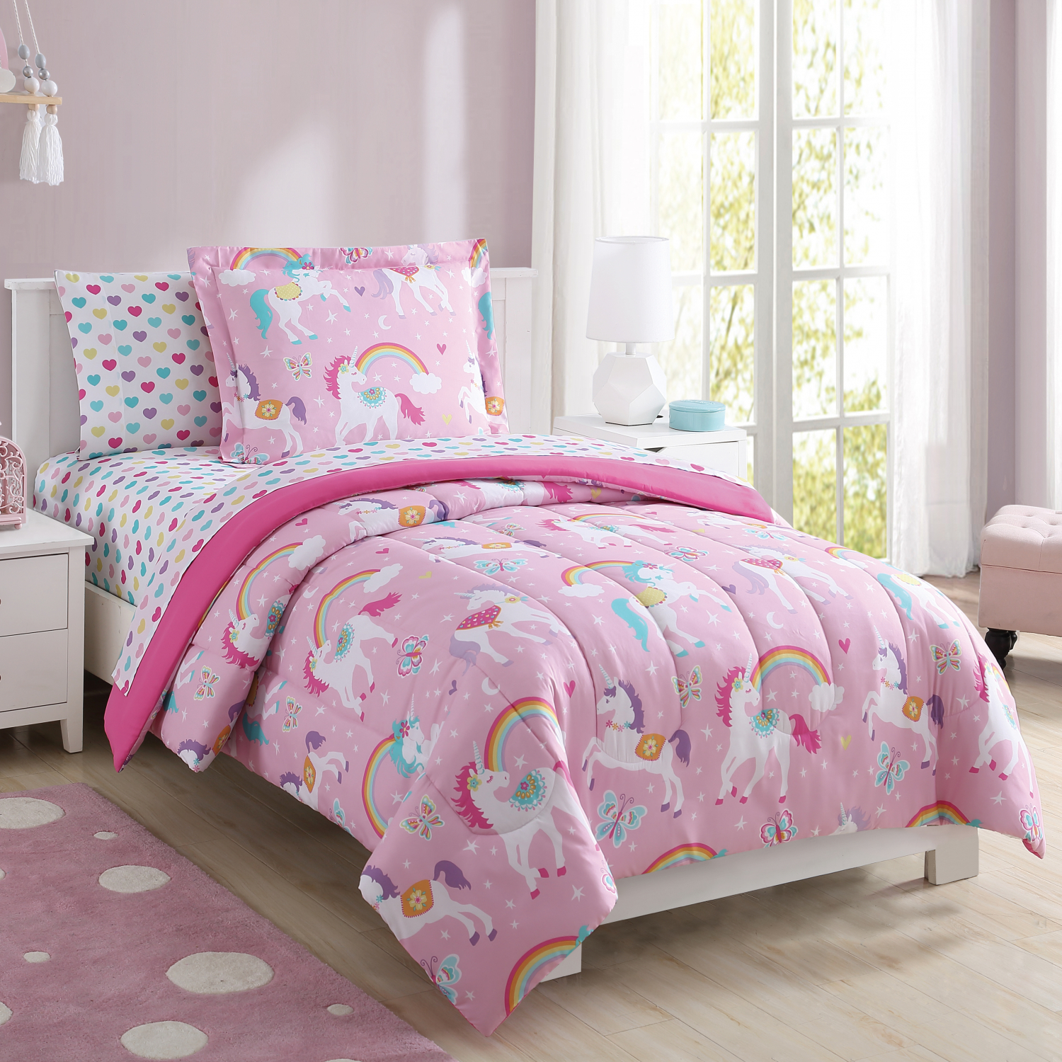 Girls Pink Purple Unicorn Rainbow Hearts Bed In A Bag