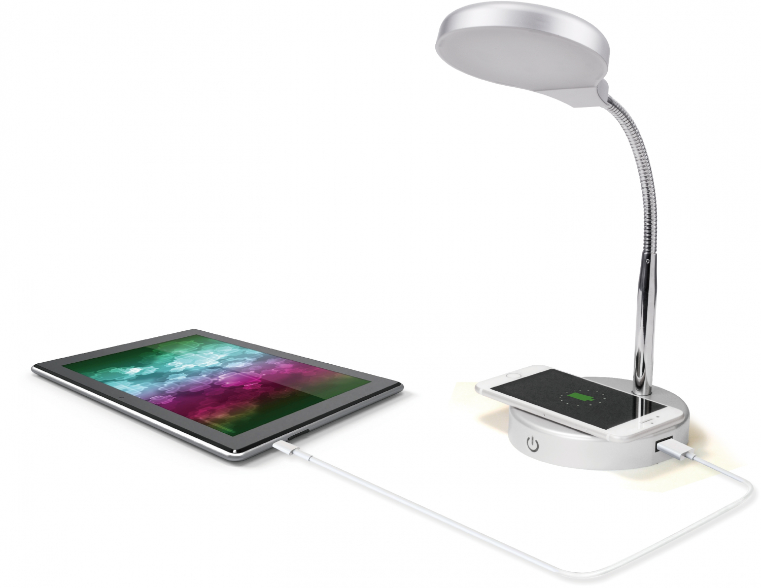 LED Desk Lamp With Qi Wireless Charging And USB Port Bedside