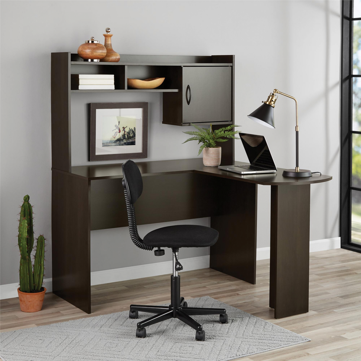 Espresso L Shaped Desk W Hutch
