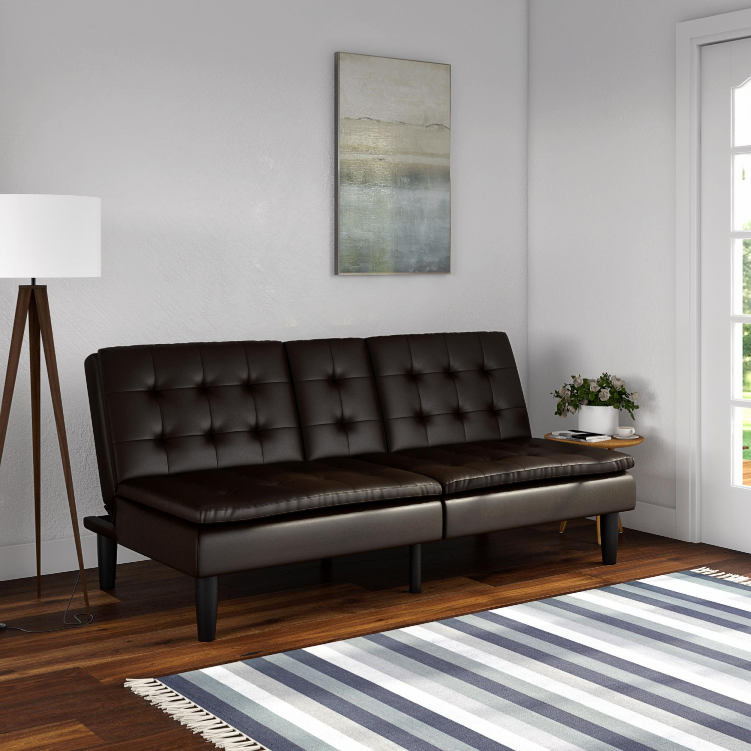 Foam Sofa Bed Couch Convertible Foldable Futon Leather ...