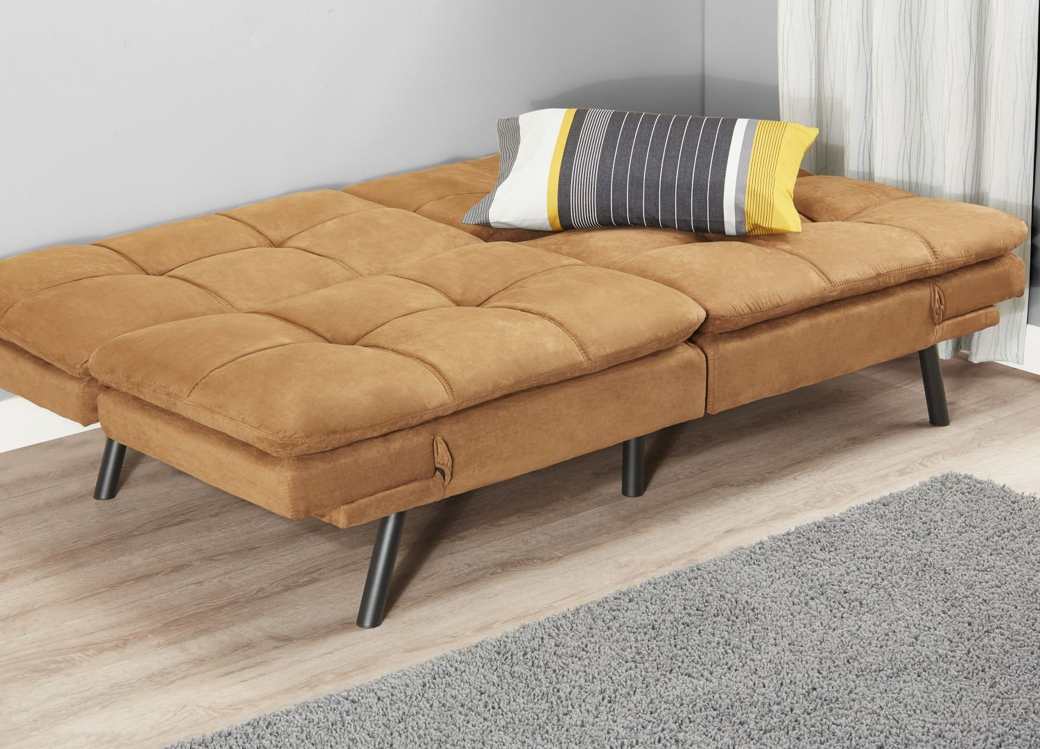 Sleeper Sofa Bed Black Suede Convertible Couch Modern ...
