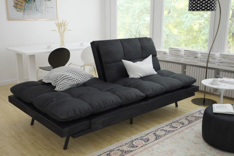 Sleeper Sofa Bed Black Suede Convertible Couch Modern