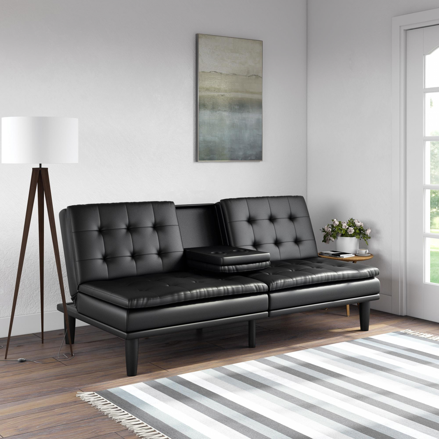 Details about Futon Sofa Bed Pillowtop W Cupholder Mid-Century Modern Style  Faux Leather Black