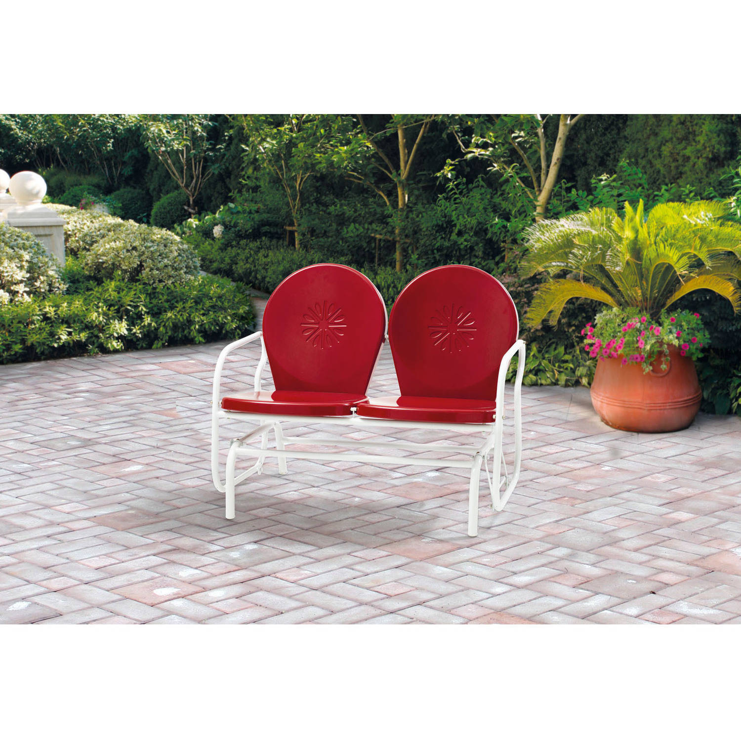 Surprising Details About Mainstays Outdoor Retro Metal Glider Red Seats 2 Onthecornerstone Fun Painted Chair Ideas Images Onthecornerstoneorg