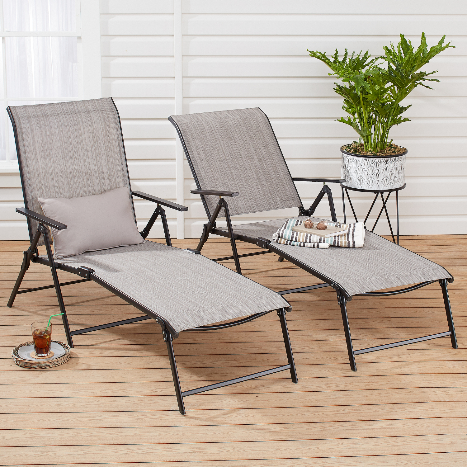 Excellent Details About Outdoor Chaise Lounge Set Of 2 Grey Sling Mesh Pool Patio Adjustable Recliner Ocoug Best Dining Table And Chair Ideas Images Ocougorg
