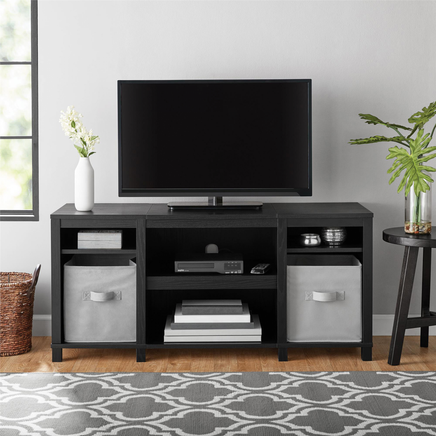 new style 86e43 591d0 Details about Entertainment Cubby TV Stand, up to 50 inch TV, Black Oak  Wood Finish Furniture