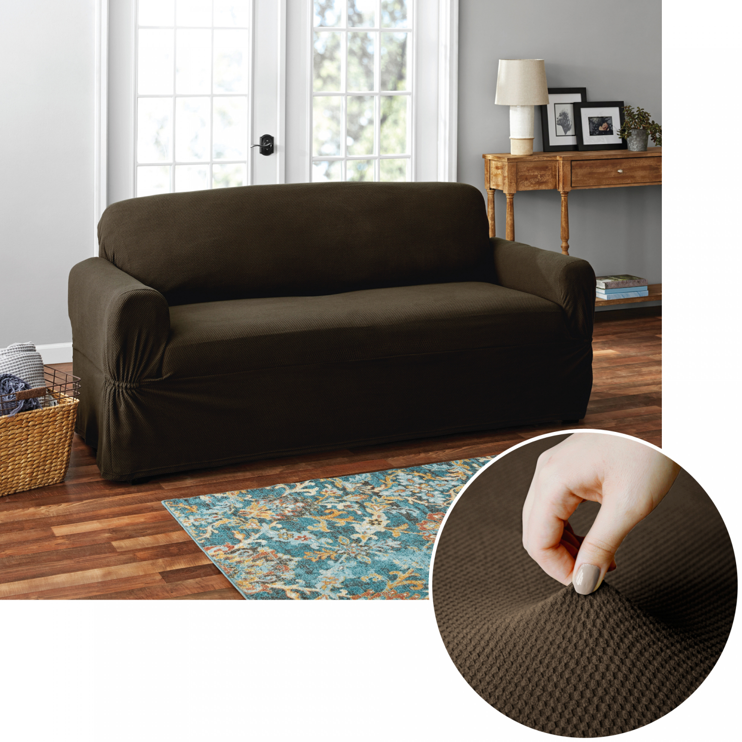 Superb Details About Mainstays Pixel 1 Piece Stretch Loveseat Furniture Cover Chocolate Camellatalisay Diy Chair Ideas Camellatalisaycom