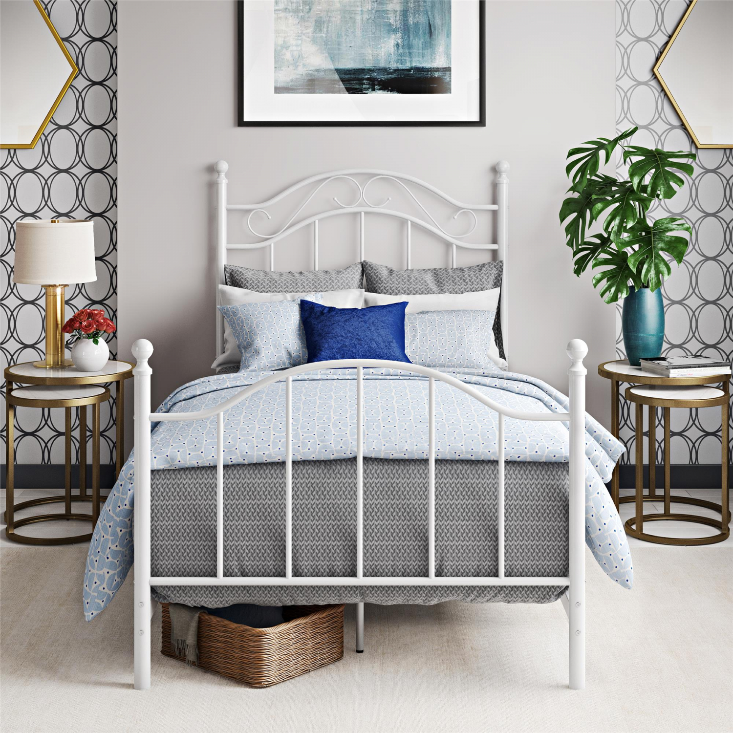 Traditional Metal Bed Frame With Headboard Twin Size Children Bedroom White Ebay