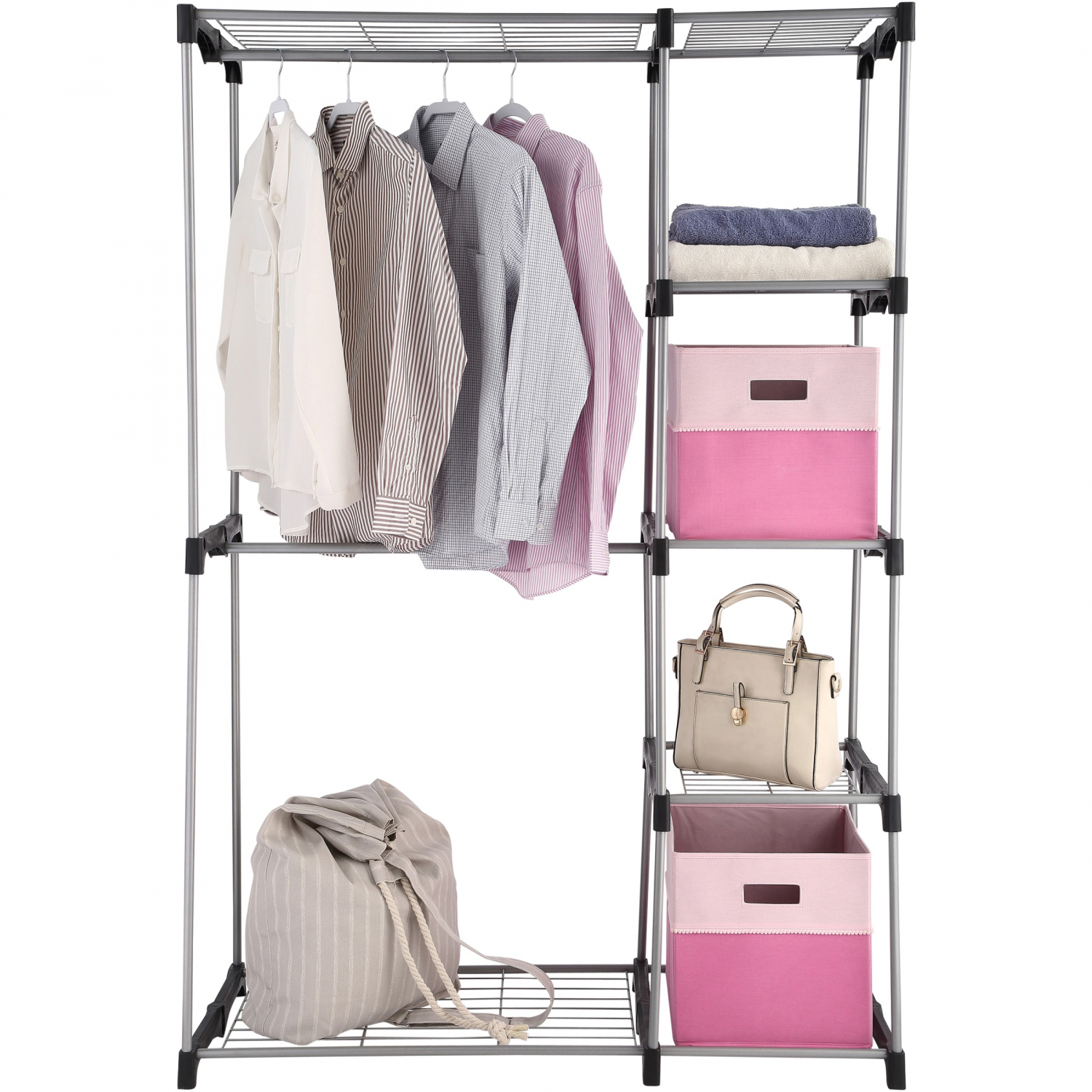 2 Tier Wire Shelf Closet Organizer Easy Assemble Garment Clothes