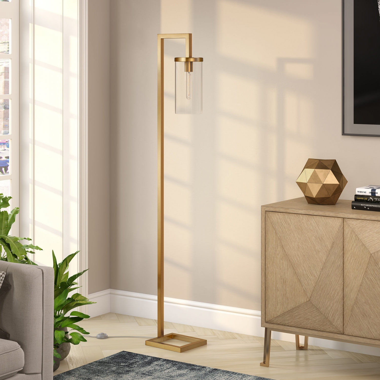 Malva Brass Finished Floor Lamp With Clear Glass Ebay