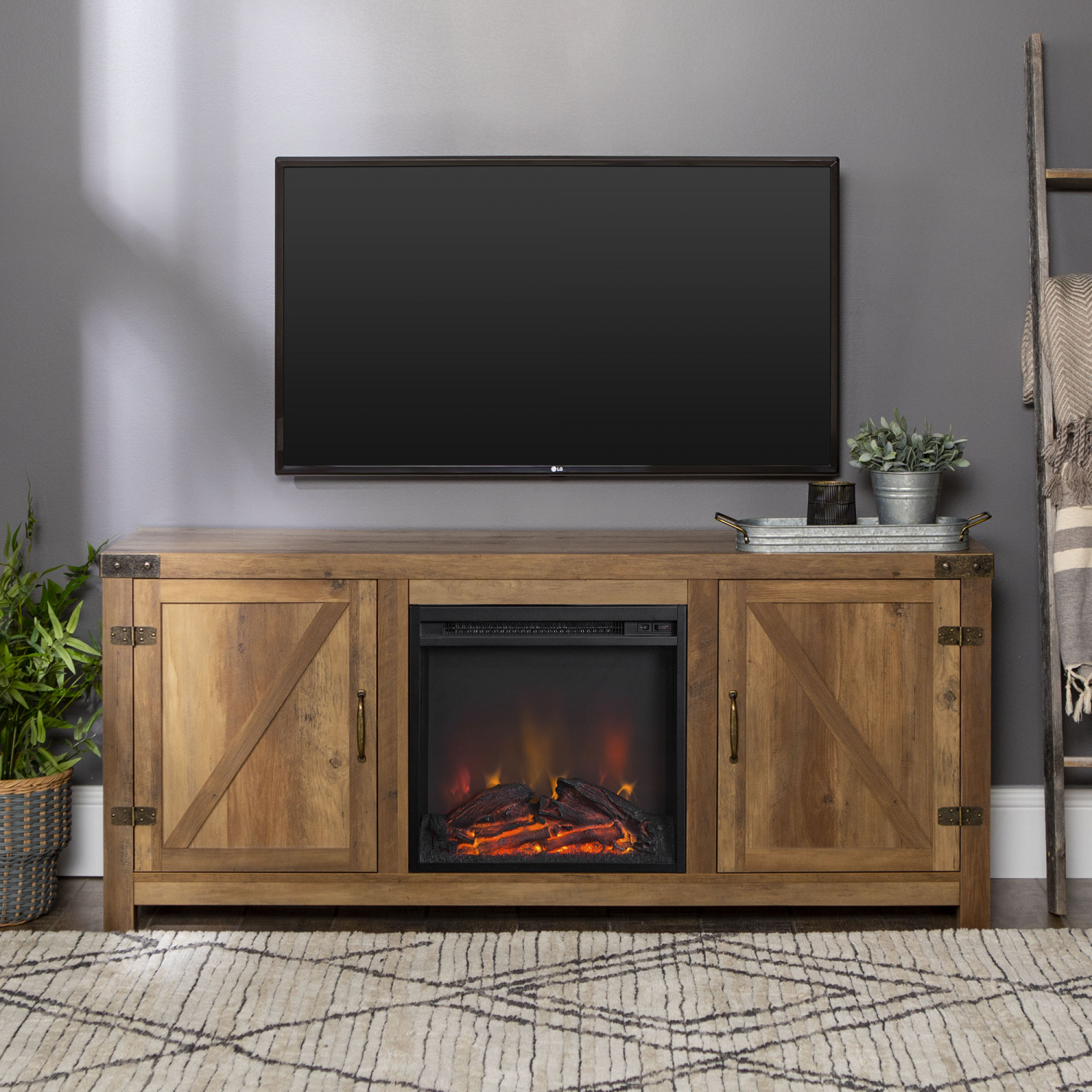 Details About Tv Stand Modern Farmhouse Barn Door Cabinet Electric Fireplace Home Furniture