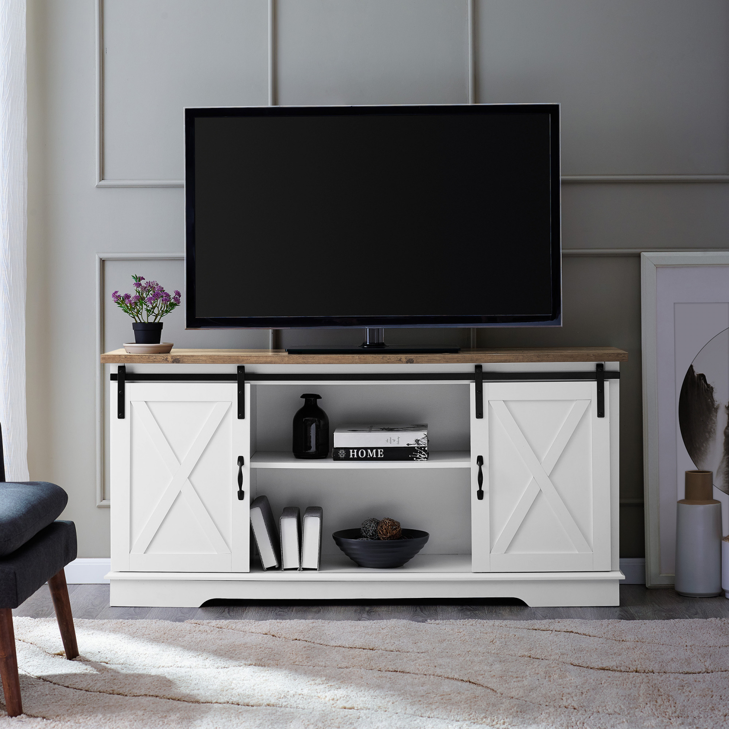 Rustic 58 Barn Door TV Stand Cosole Wall Unit Entertainment Center Fits 65 TVs