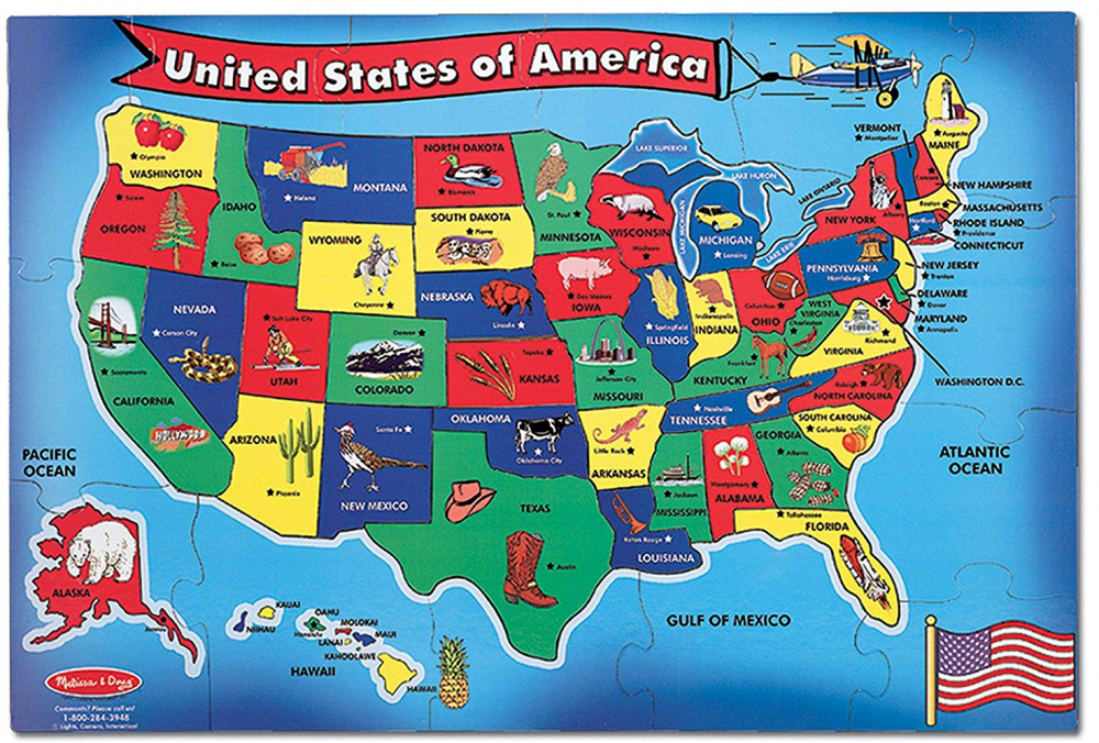 Melissa and Doug USA (United States) Kids Map Floor Puzzle Toy, 51 ...
