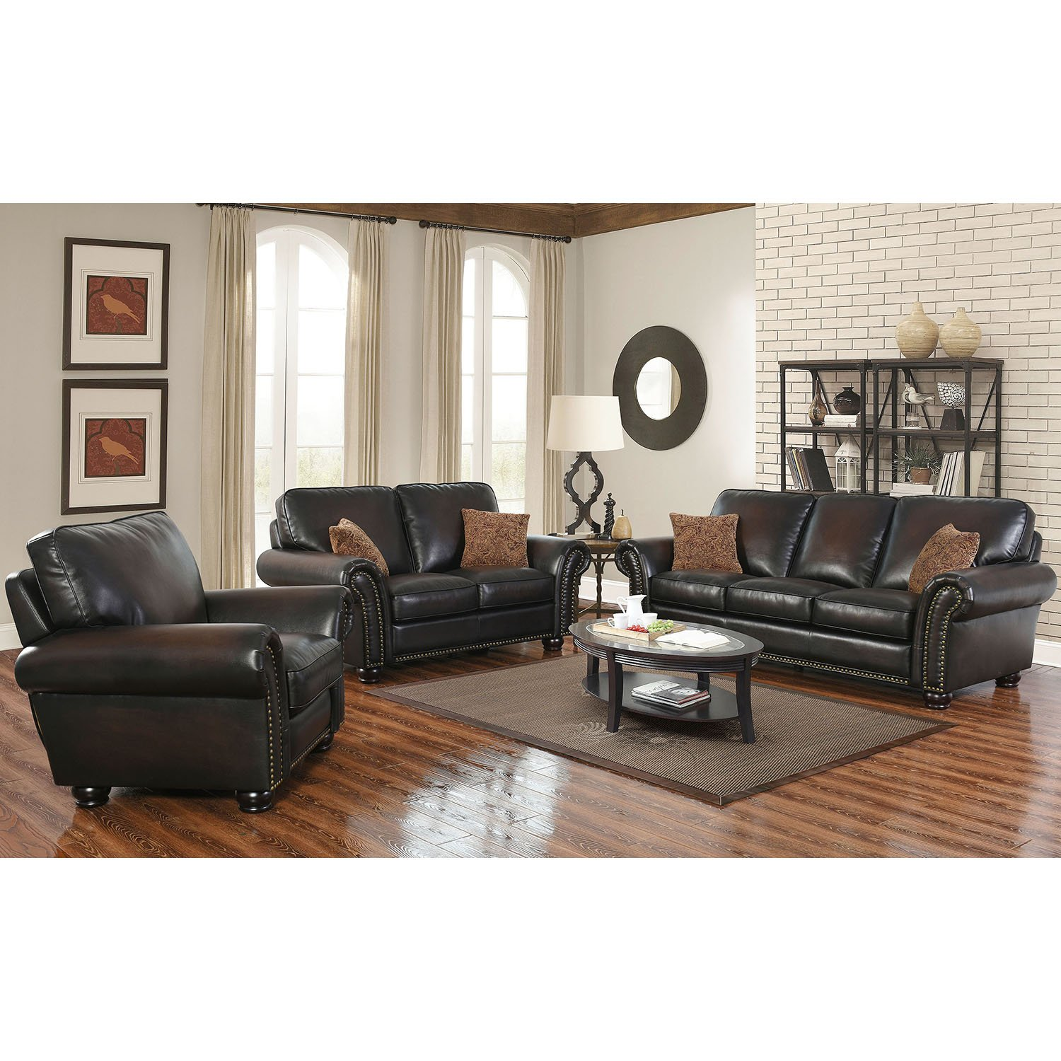Outstanding Details About Abbyson Rubbed Leather Sofa Love Seat Recliner Set Western Rustic Nailhead Trim Caraccident5 Cool Chair Designs And Ideas Caraccident5Info