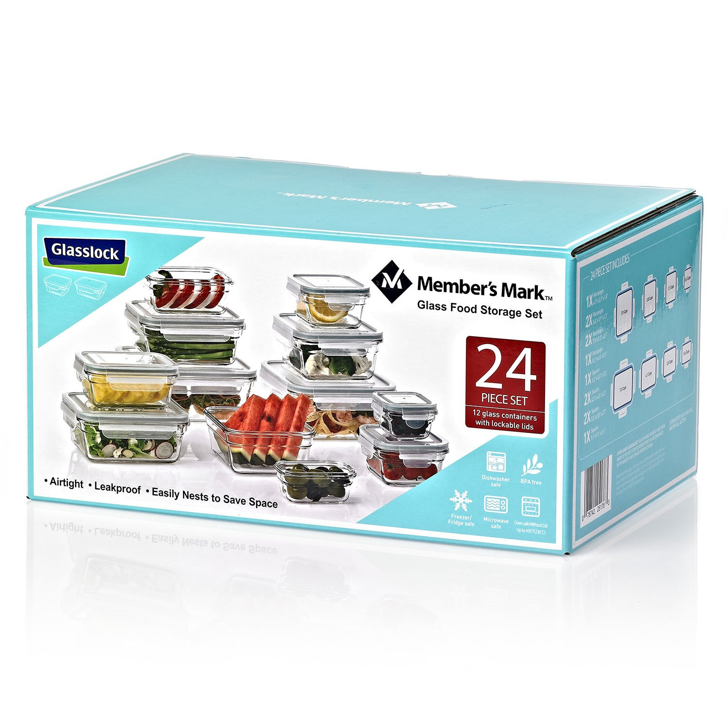 Members Mark 24-Piece Glass Food Storage Containers Set by G