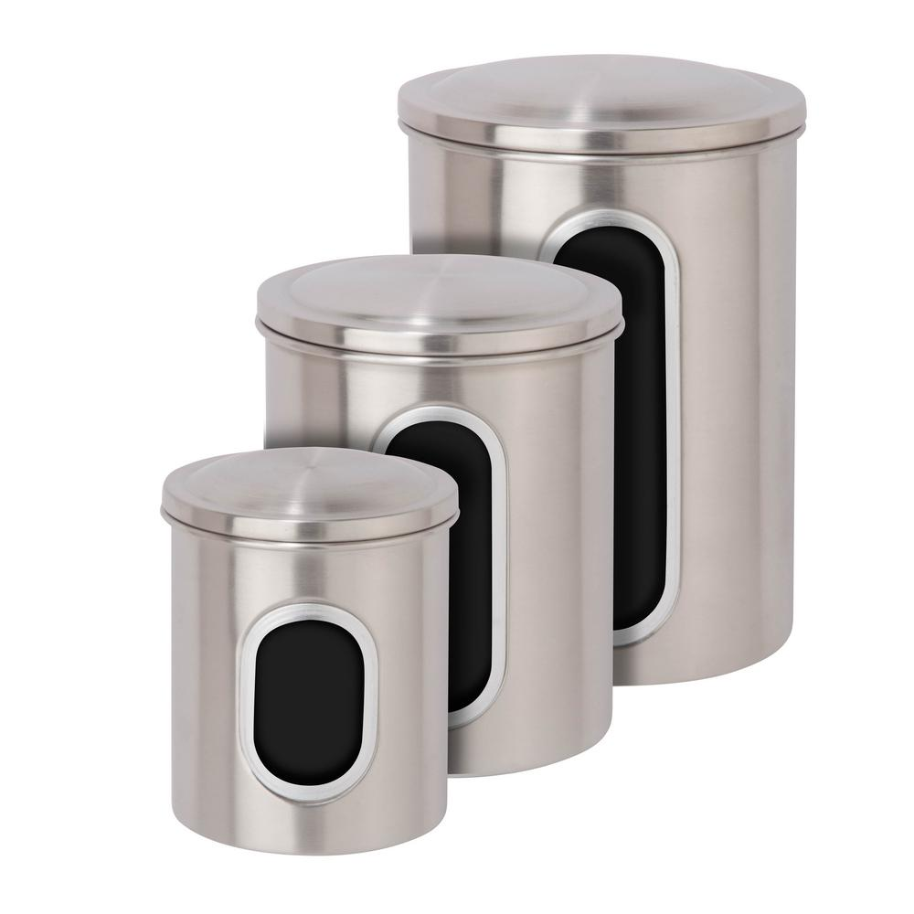 Details about Honey Can Do Food Storage Canister Stainless Steel Kitchen  Container 3 Pack Set