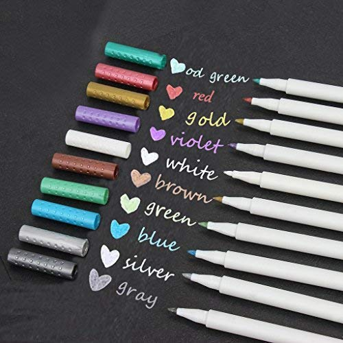 Metallic Marker Pens,Set Of 10 Colors,Metallic Color Painting Pen For Birthday