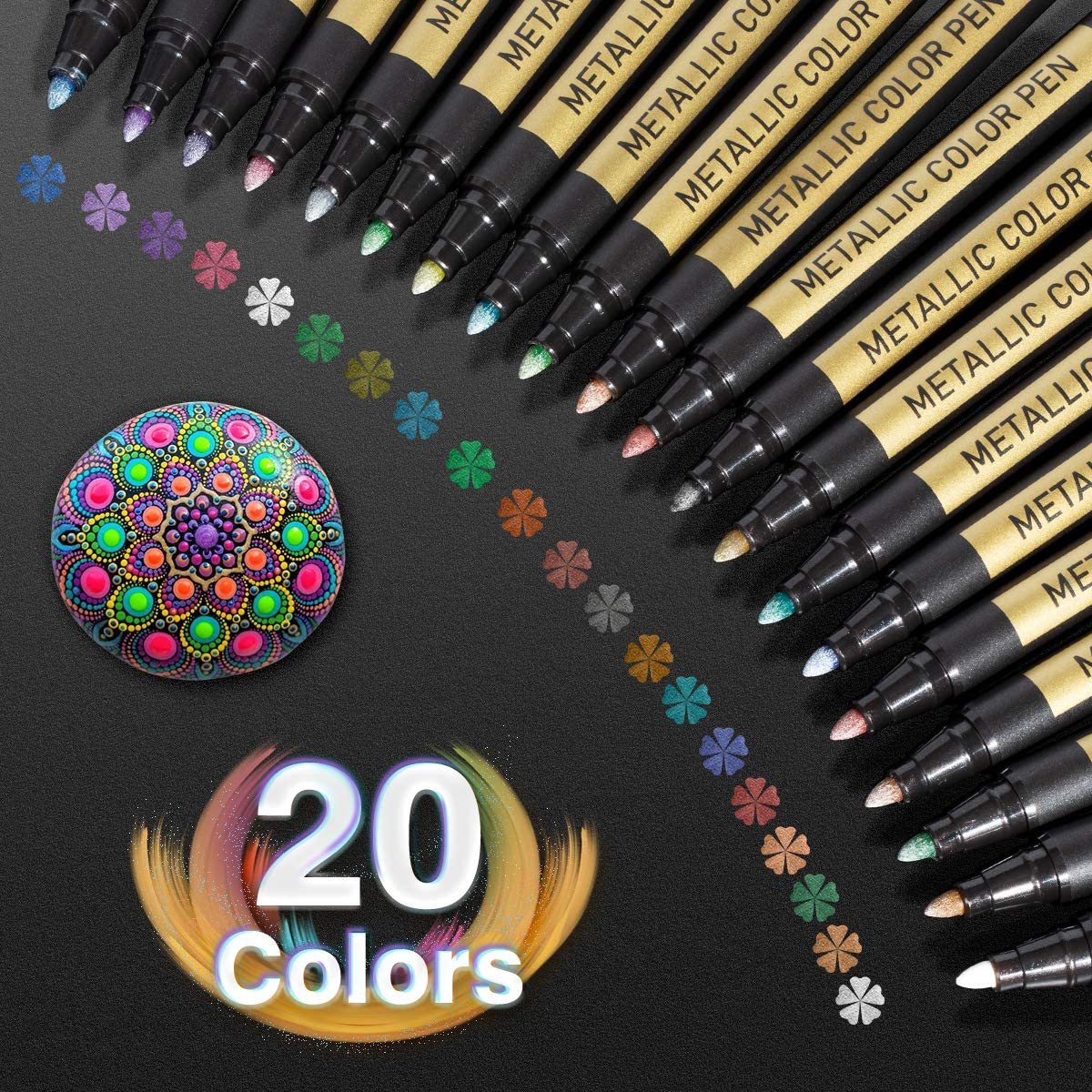 Metallic Paint Markers Pens Set 20 Colors Paint Pen Craft Markers For Rock For Ebay