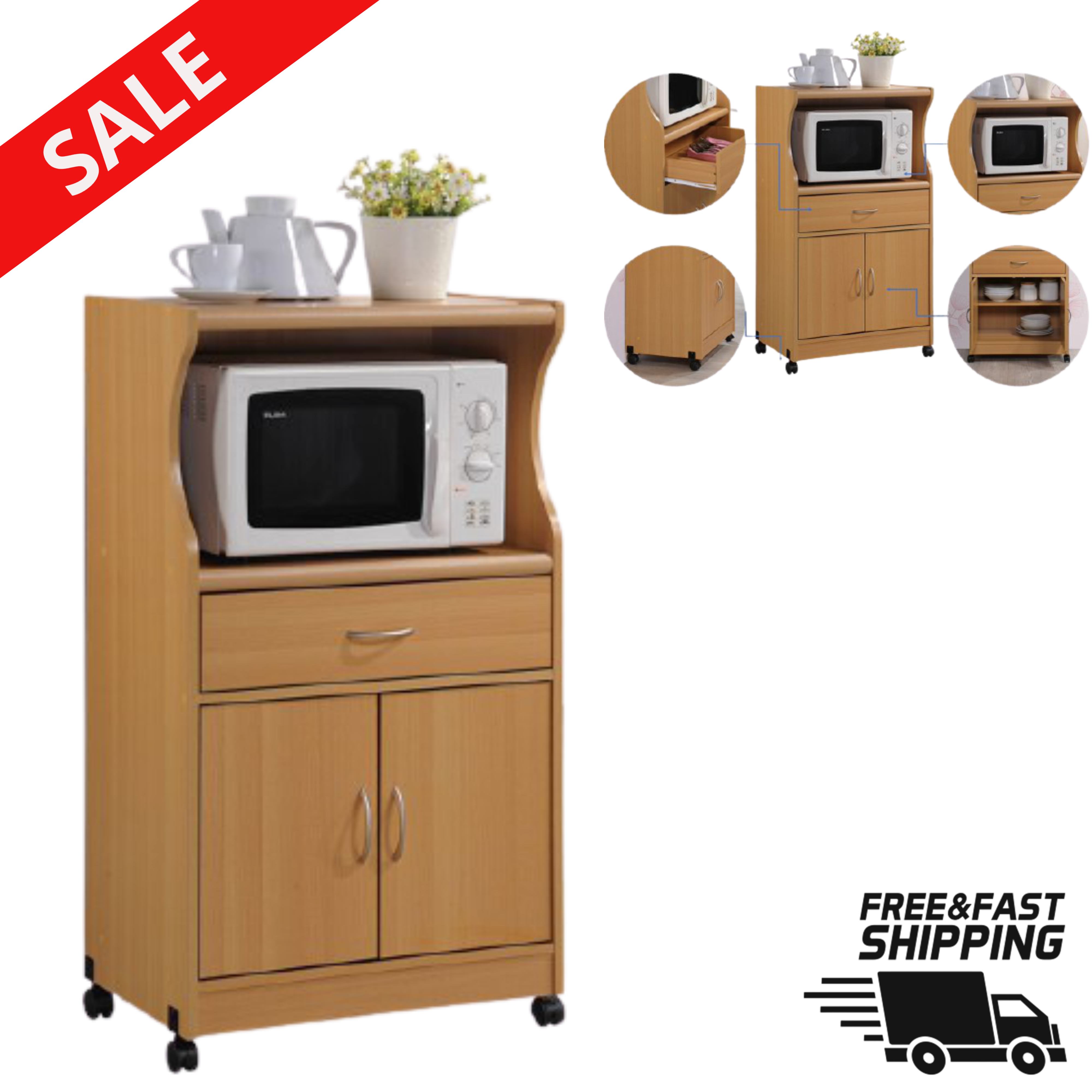 Microwave Stand Cart Rolling Kitchen