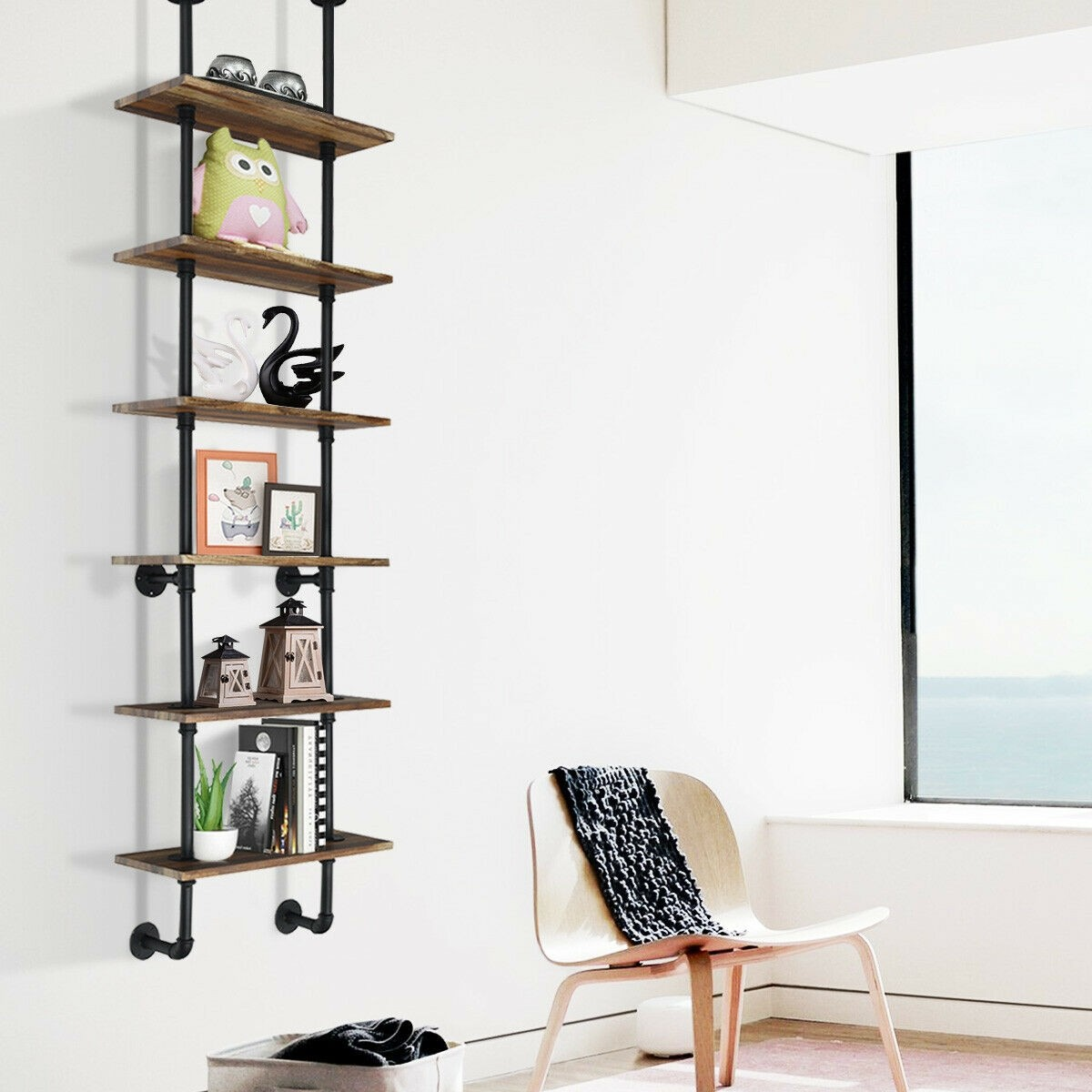Details About Mid Century Wall Shelf Tall Vintage Industrial Shelving Unit Metal Water Pipe 6