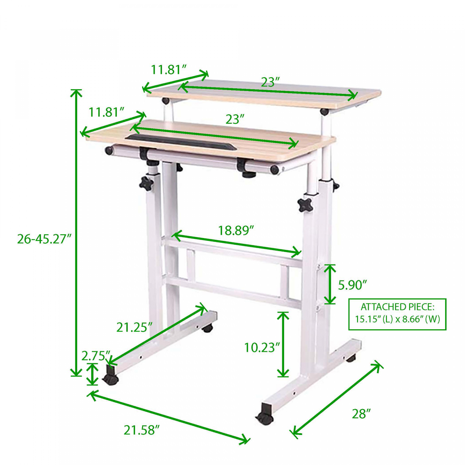 White Mobile Sit And Stand Computer Desk Writing Table
