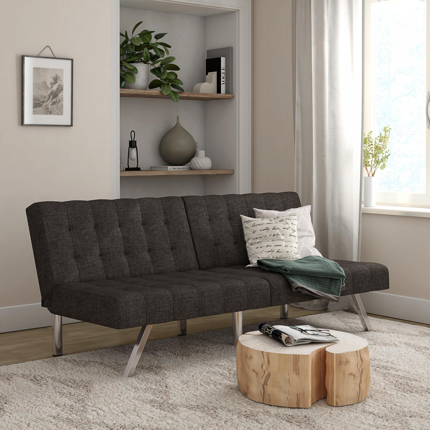 Details About Modern Tufted Futon Sofa Bed Twin Sleeper Convertible Couch Living Room Gray