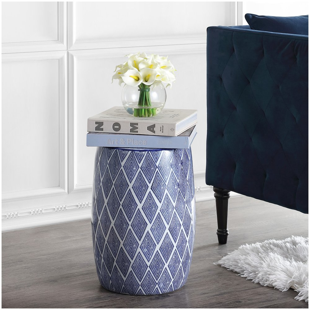 Admirable Details About Blue White Moroccan Diamonds Ceramic Garden Stool Side Accent Table Plant Stand Machost Co Dining Chair Design Ideas Machostcouk