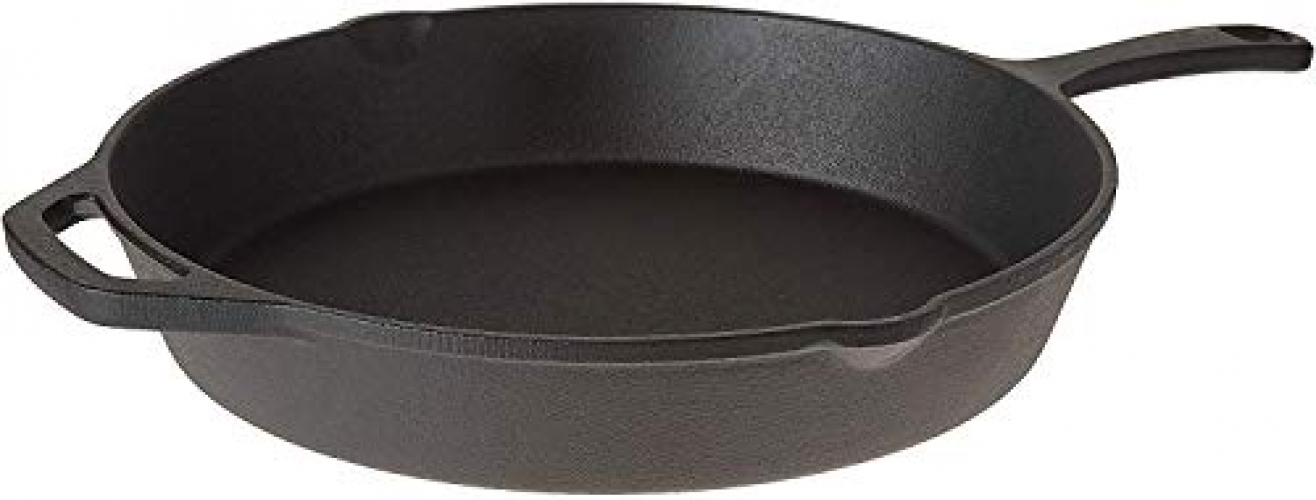Pre-Seasoned Cast Iron Skillet Chefs Classic 10 Inch Round Fry Pan for Kitchen Frying Searing and Baking Camping Indoor and Outdoor Cooking