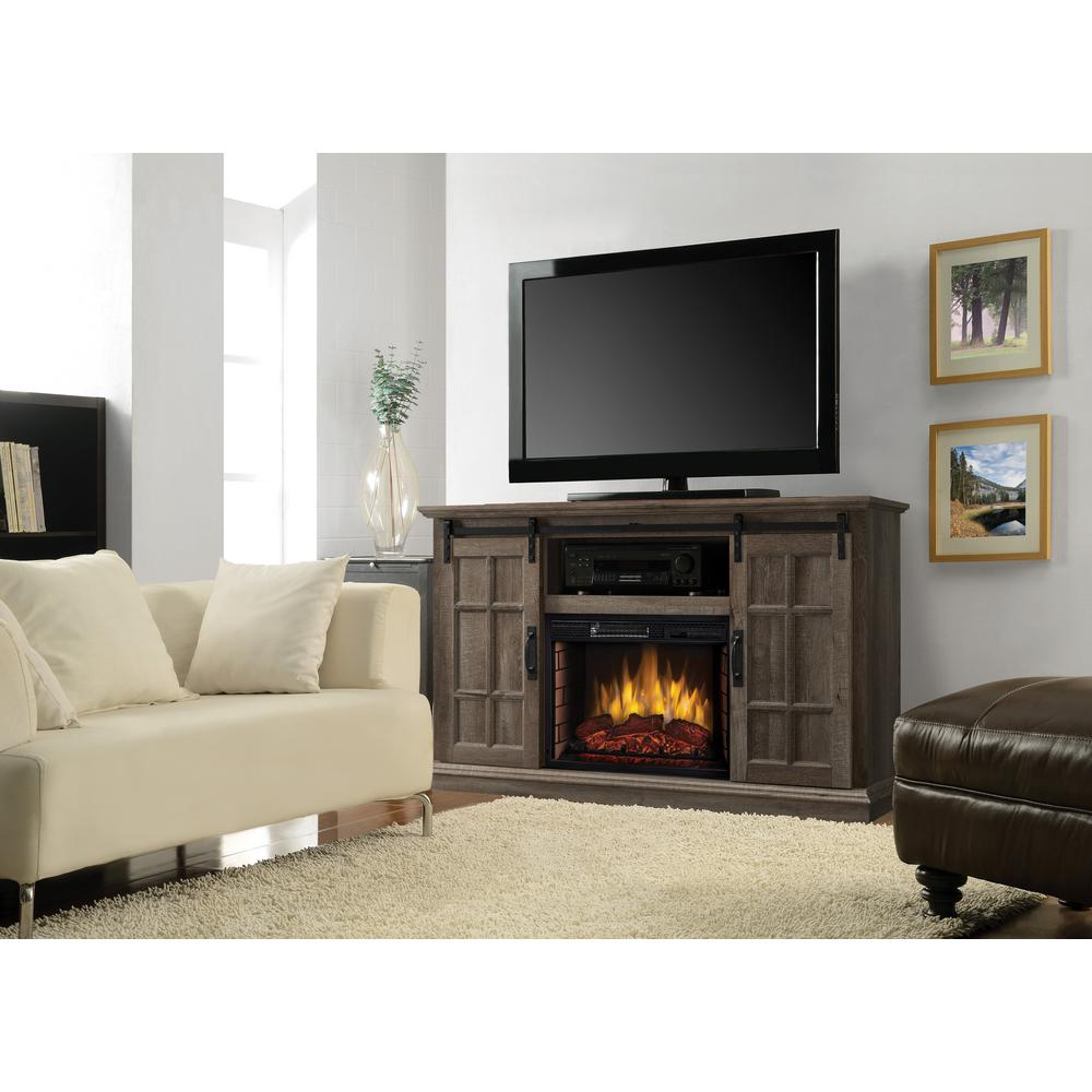 Muskoka Infrared Electric Fireplace Tv Stand Freestanding With Sliding Door Ebay