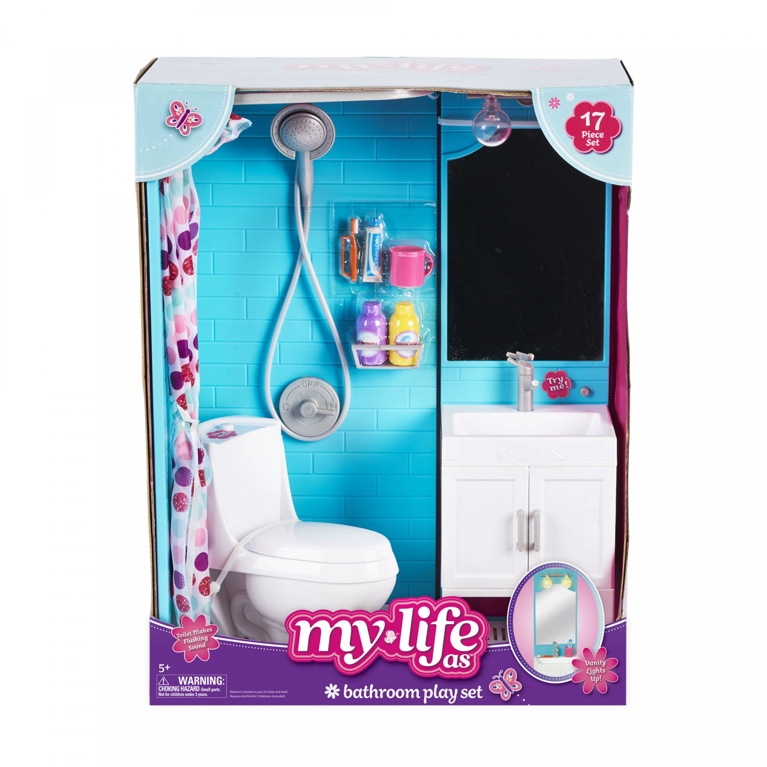 Bathroom Playset 18 Inch Doll with Shower LightUp Vanity ...