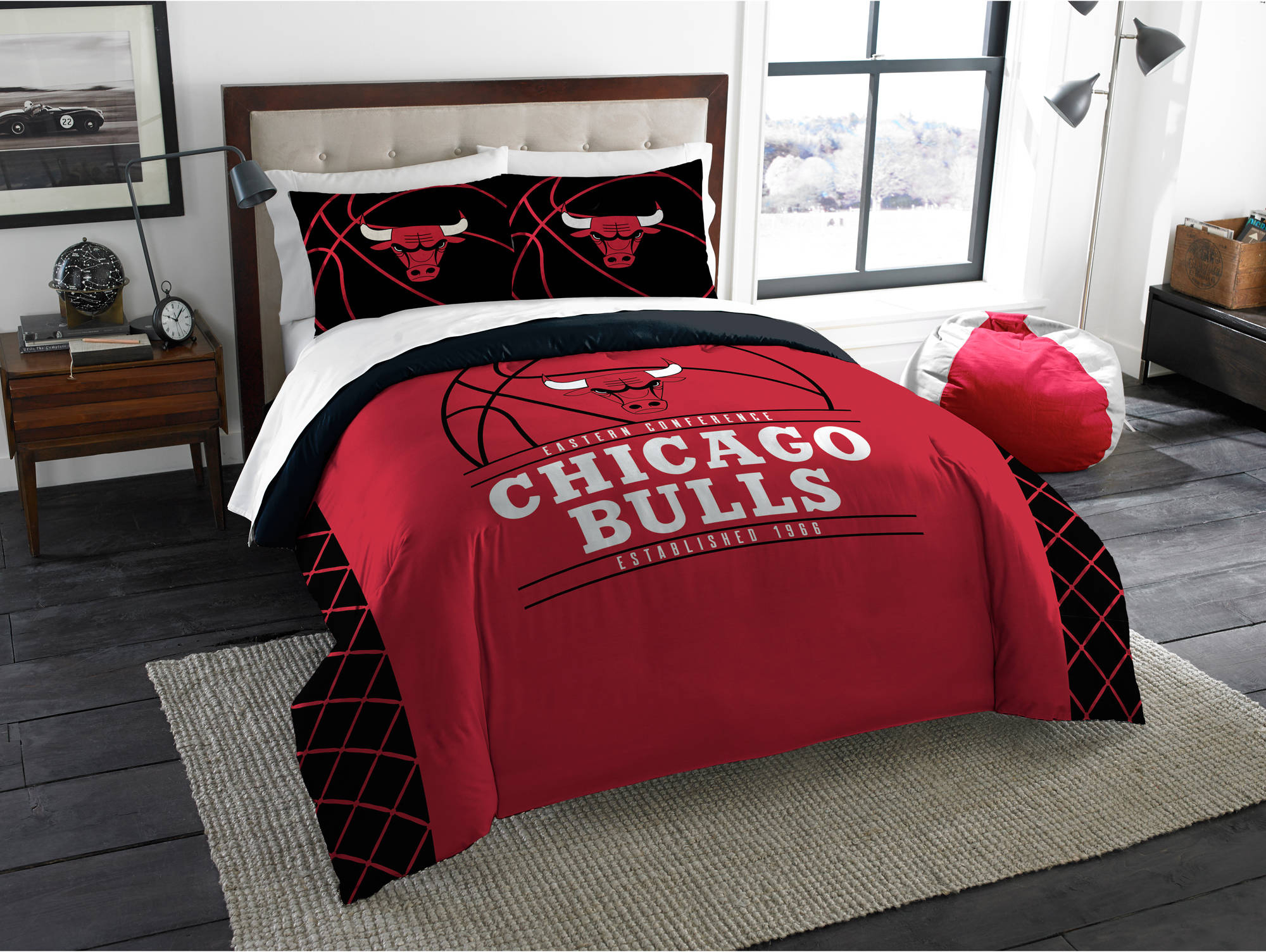 Details about Chicago Bulls Comforter Set Nba Reverse Slam Bedding 3 Piece  Size Full/Queen Red