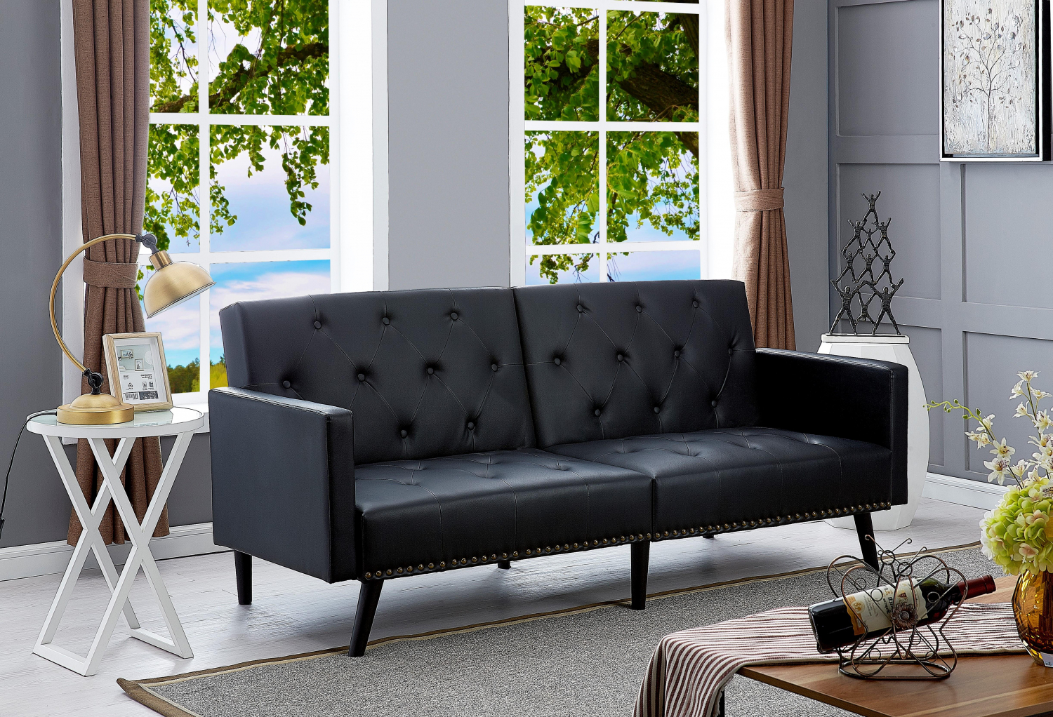 Details about Leather Futon Sofa Bed Sleeper Couch Convertible Loveseat  Tufted Black Reclining