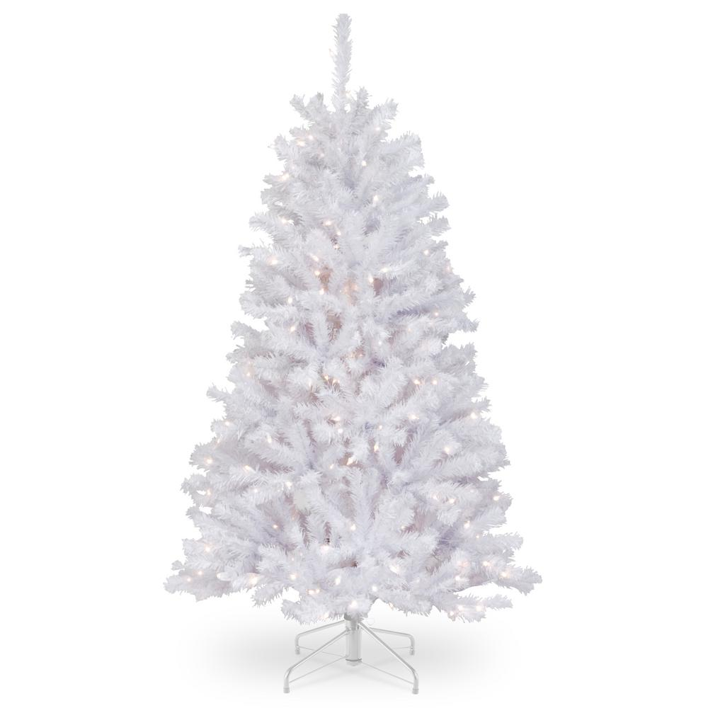 White Spruce 4.5 Ft Artificial Christmas Tree W/ Clear ...