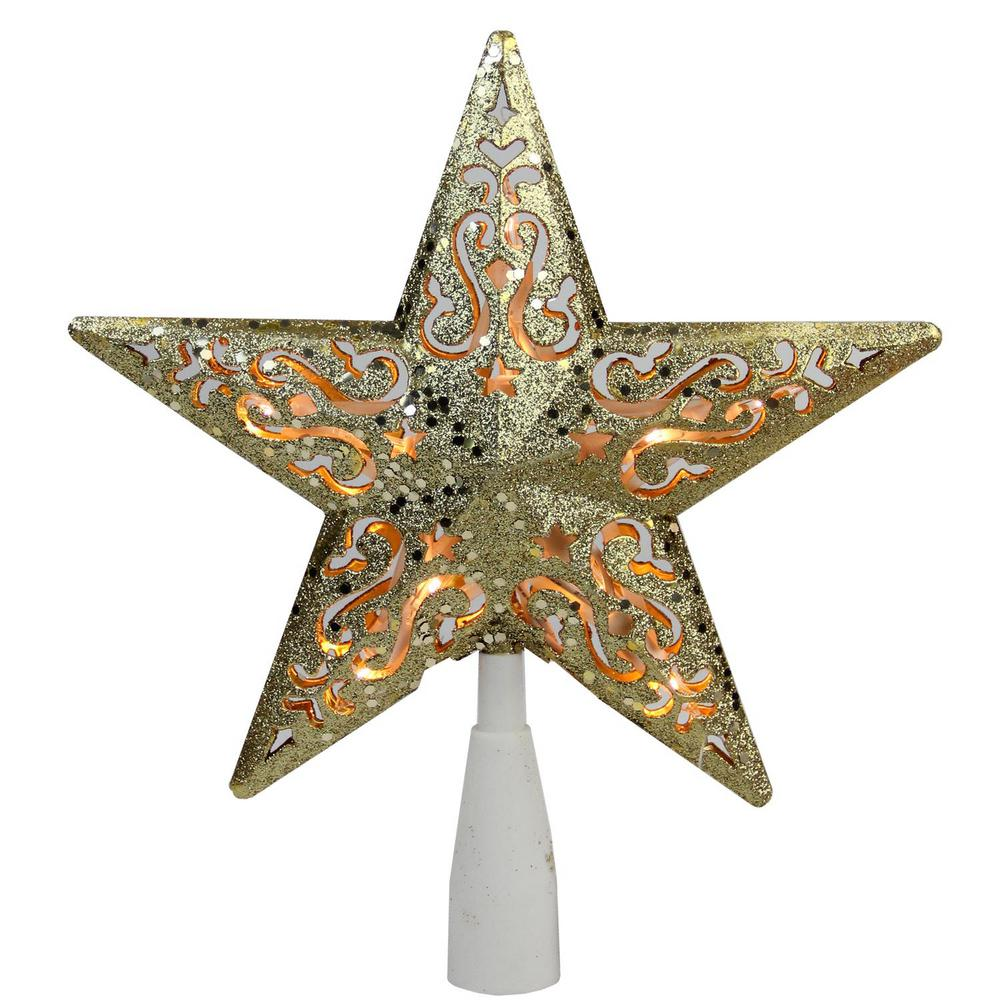 8 in Gold Glitter Plastic Star Christmas Tree Topper ...