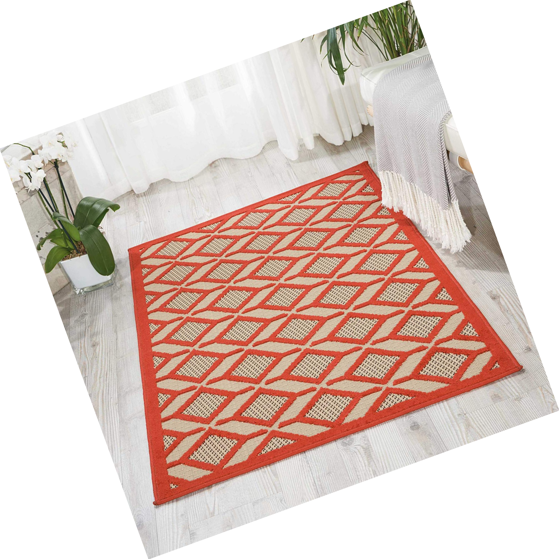 Details About Nourison Alh03 Aloha Red Indoor Outdoor Area Rug 2 8 X 4