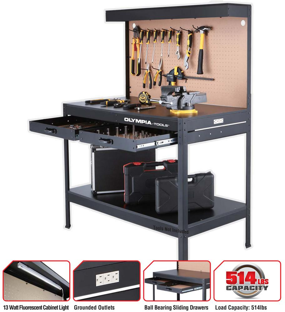 Pleasing Details About Work Bench With Light Powerstrip Table Reloading Machine Shop Garage Hobby Steel Caraccident5 Cool Chair Designs And Ideas Caraccident5Info